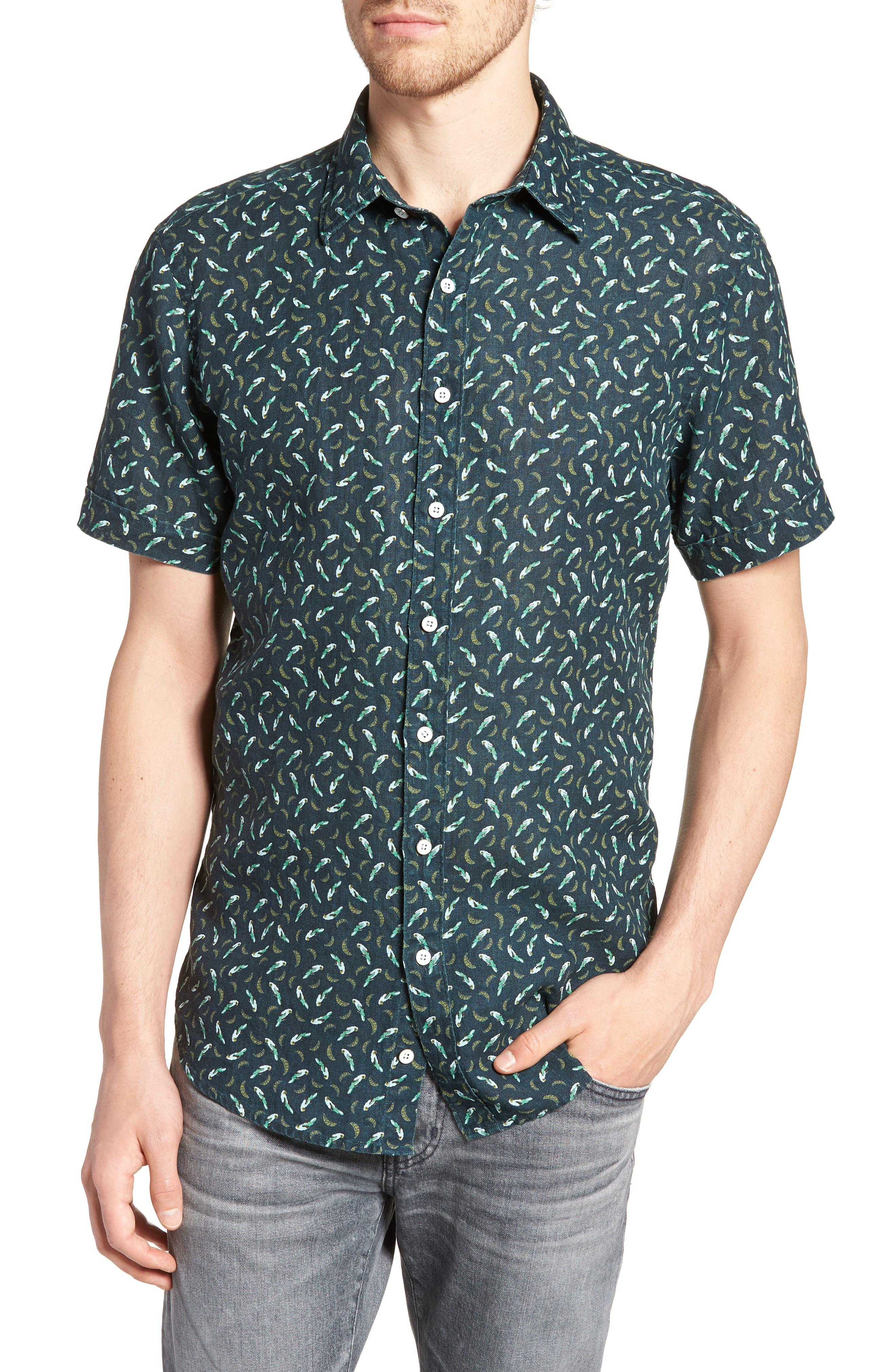 Rivas Avenue Linen Sport Shirt,                         Main,                         color, Forest