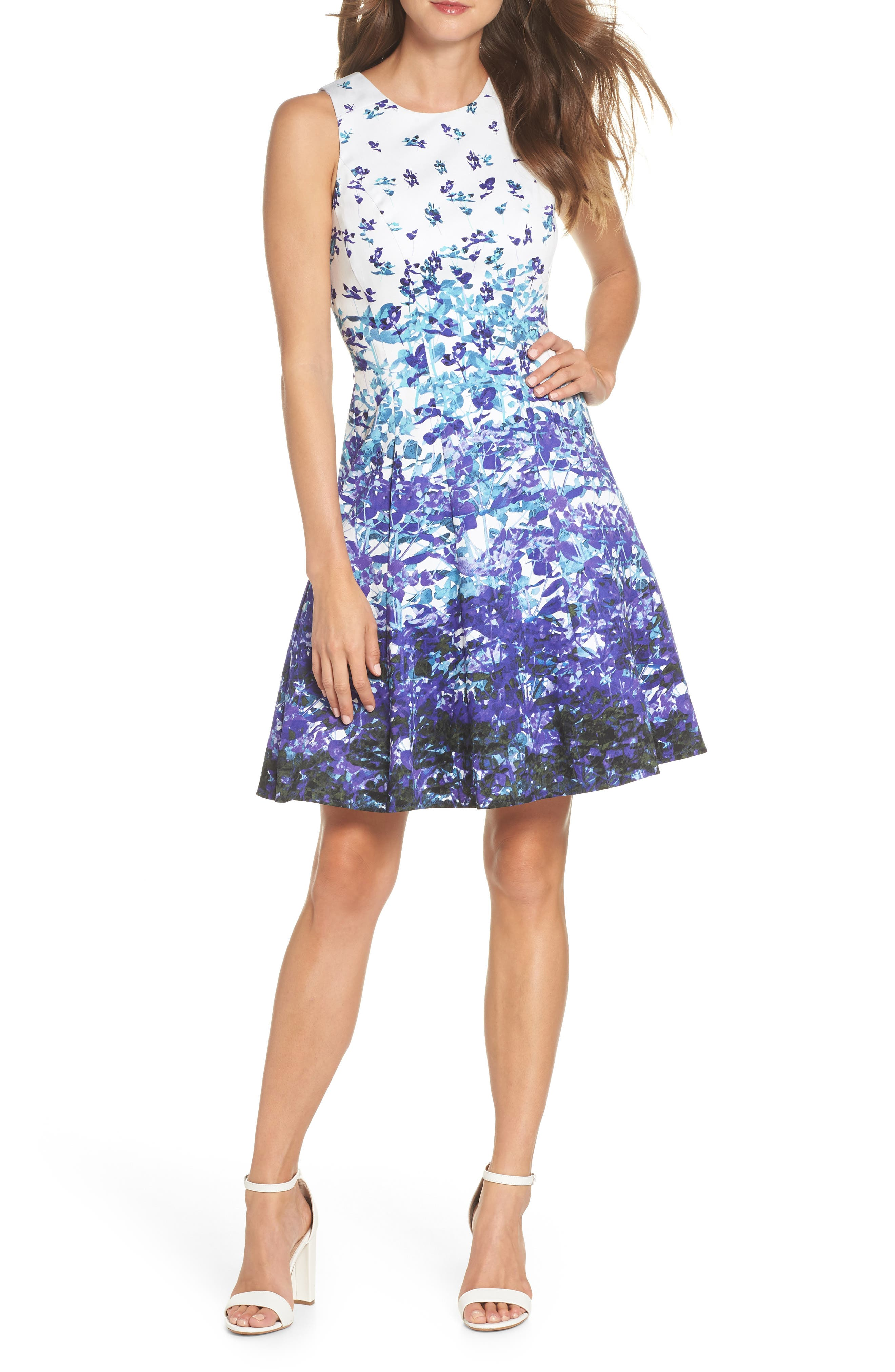 Floral Sateen Fit & Flare Dress,                         Main,                         color, Soft White/ Purple