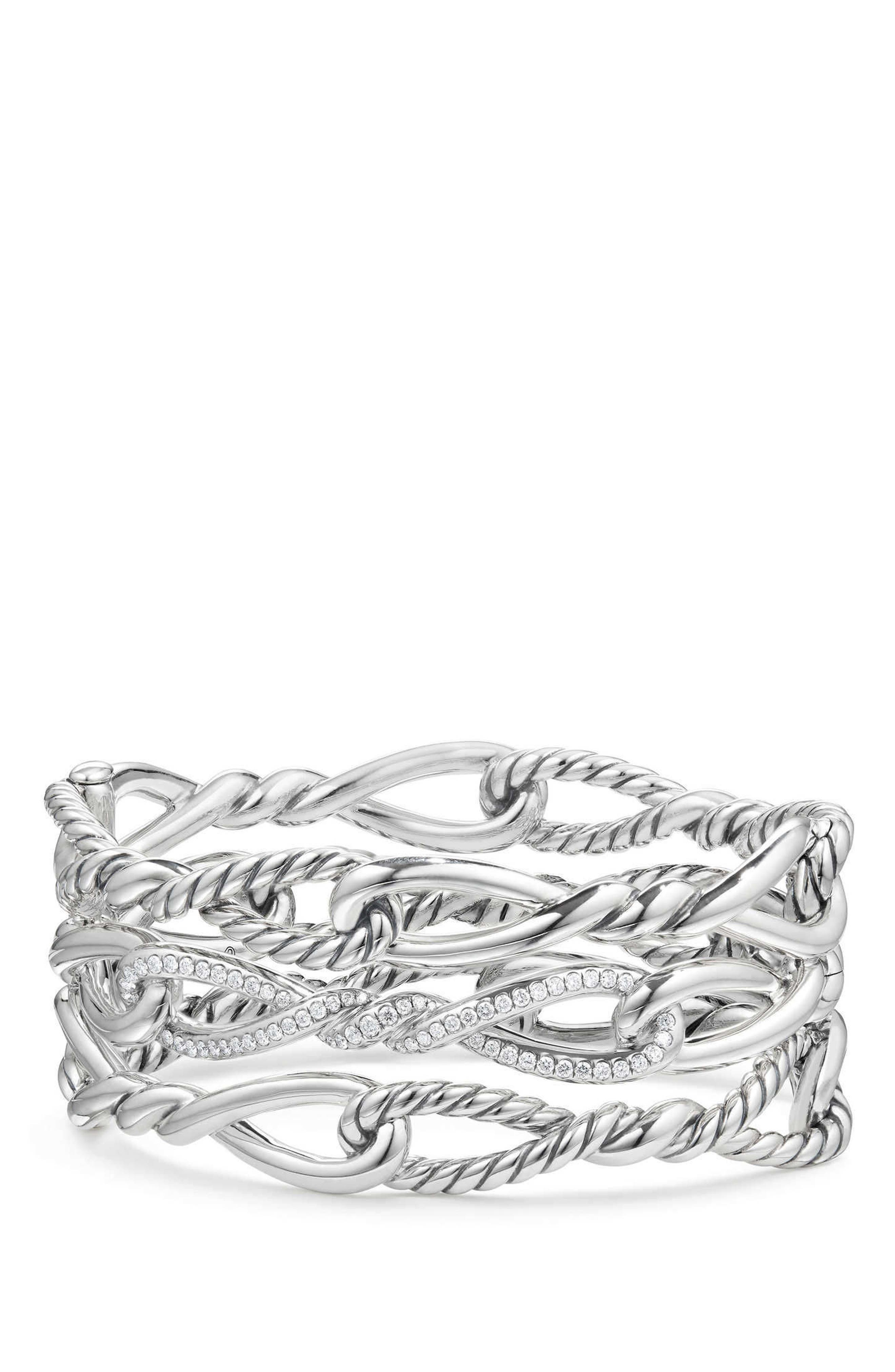 Alternate Image 1 Selected - David Yurman Continuance Multi Row Cuff Bracelet with Diamonds