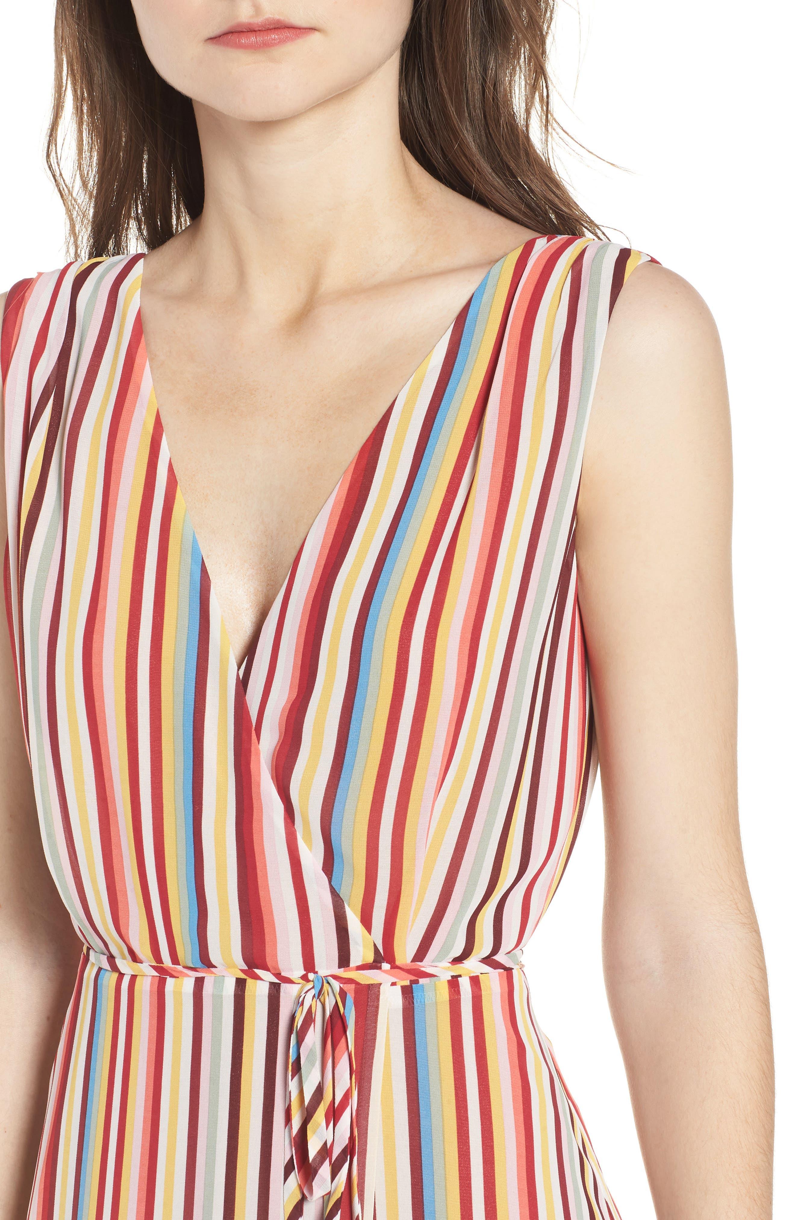 Bobby Wrap Maxi Dress,                             Alternate thumbnail 4, color,                             Red Multi Stripe