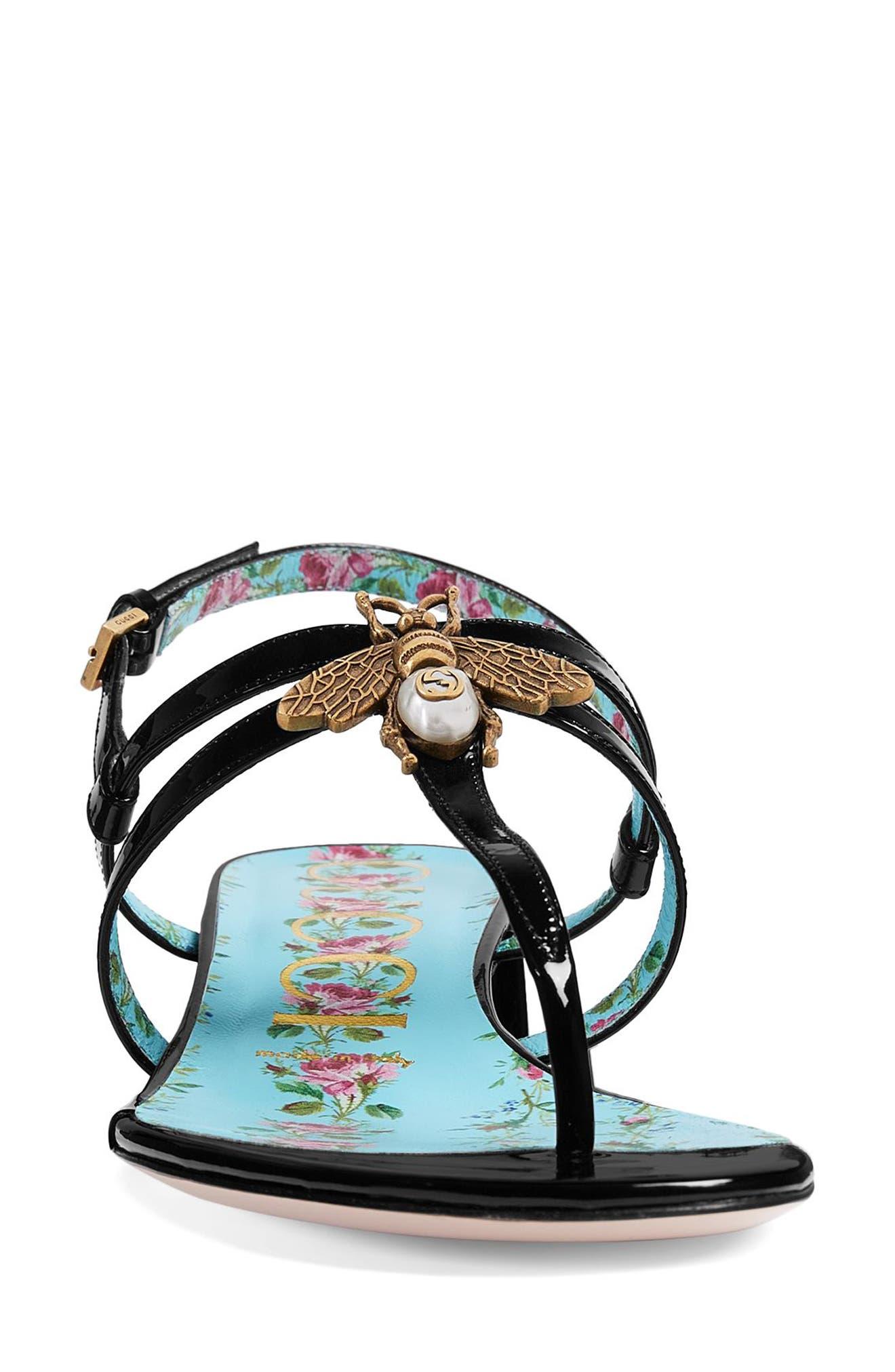 Bee Thong Sandal,                             Alternate thumbnail 3, color,                             Black