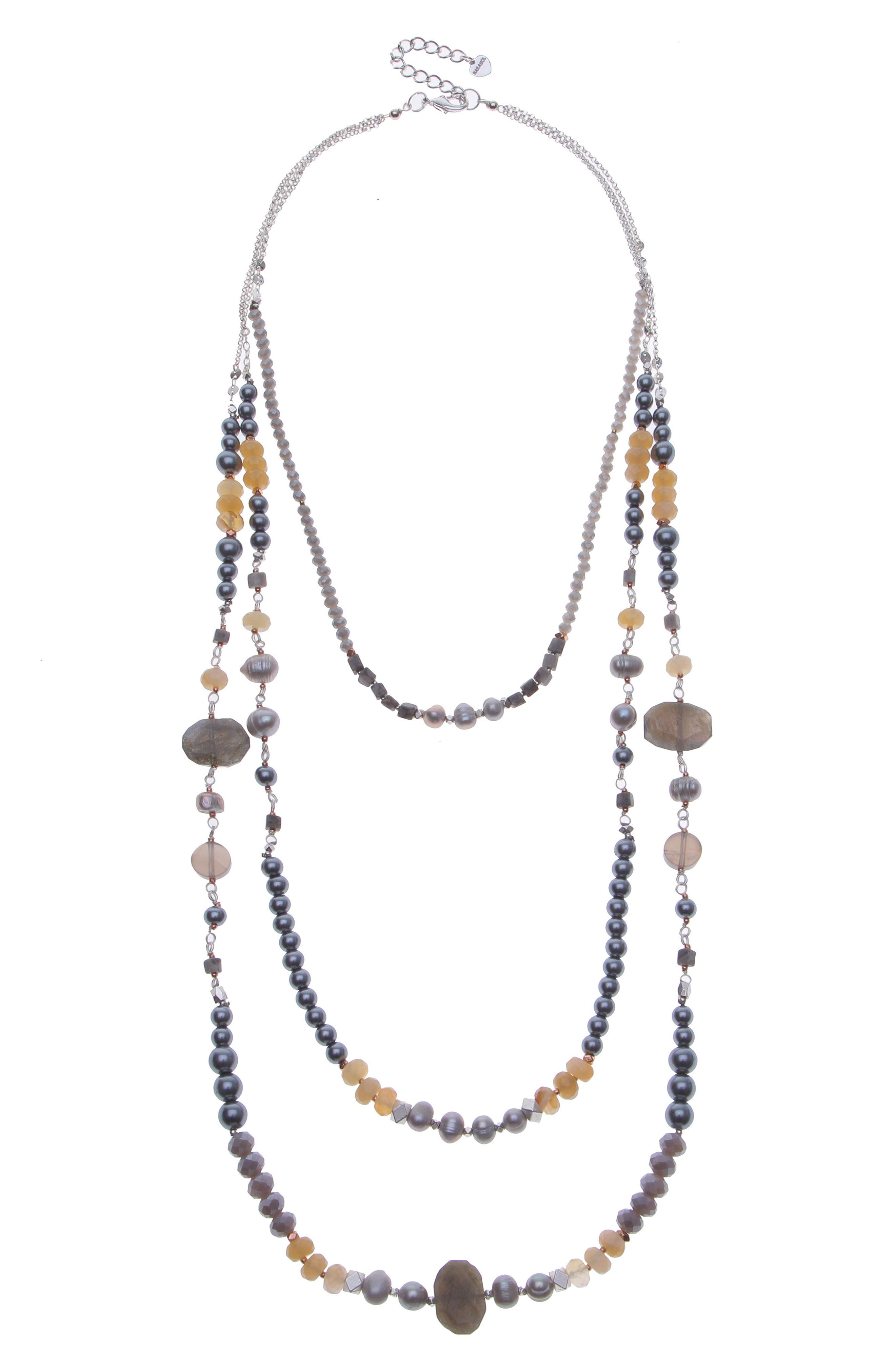 Cultured Pearl & Imitation Pearl Triple Strand Necklace,                             Main thumbnail 1, color,                             Silver