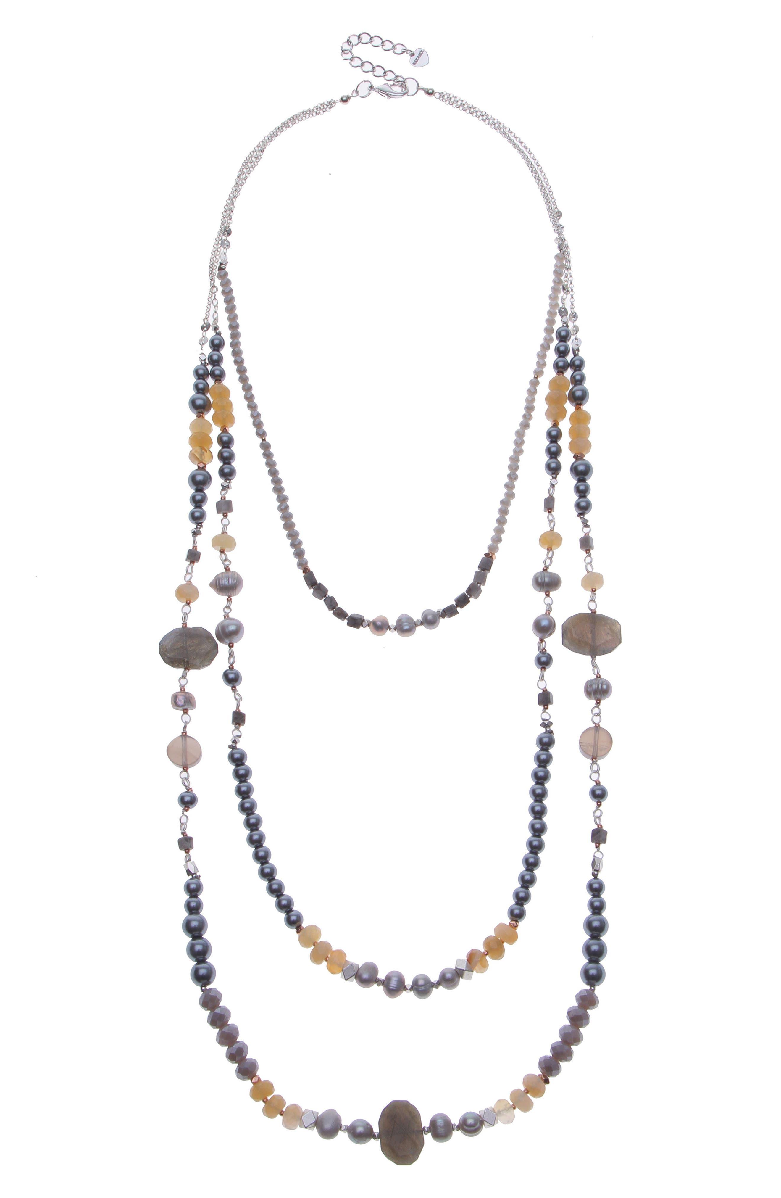 Cultured Pearl & Imitation Pearl Triple Strand Necklace,                         Main,                         color, Silver