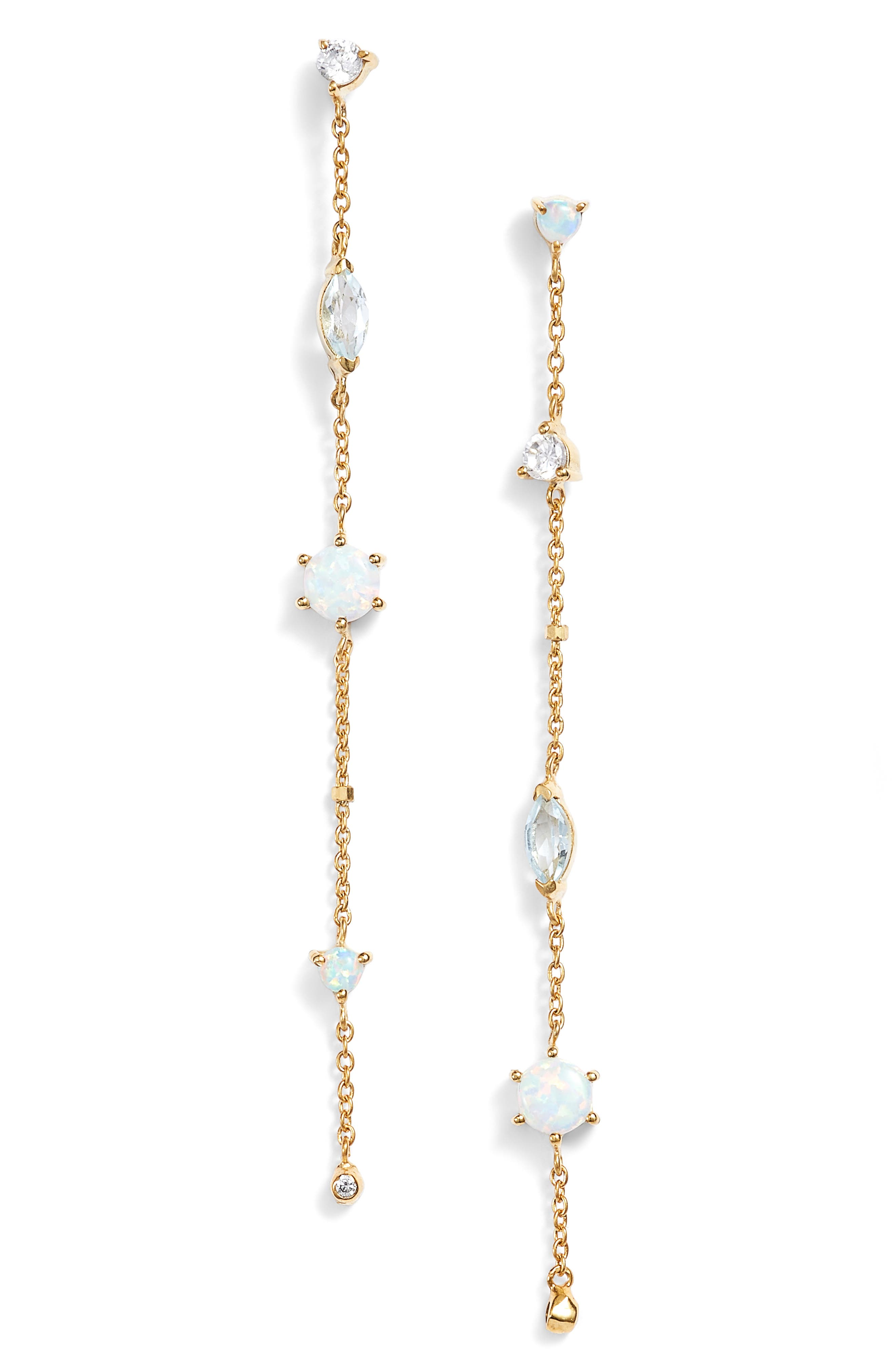 Sydney Multistone Chain Earrings,                             Main thumbnail 1, color,                             Gold
