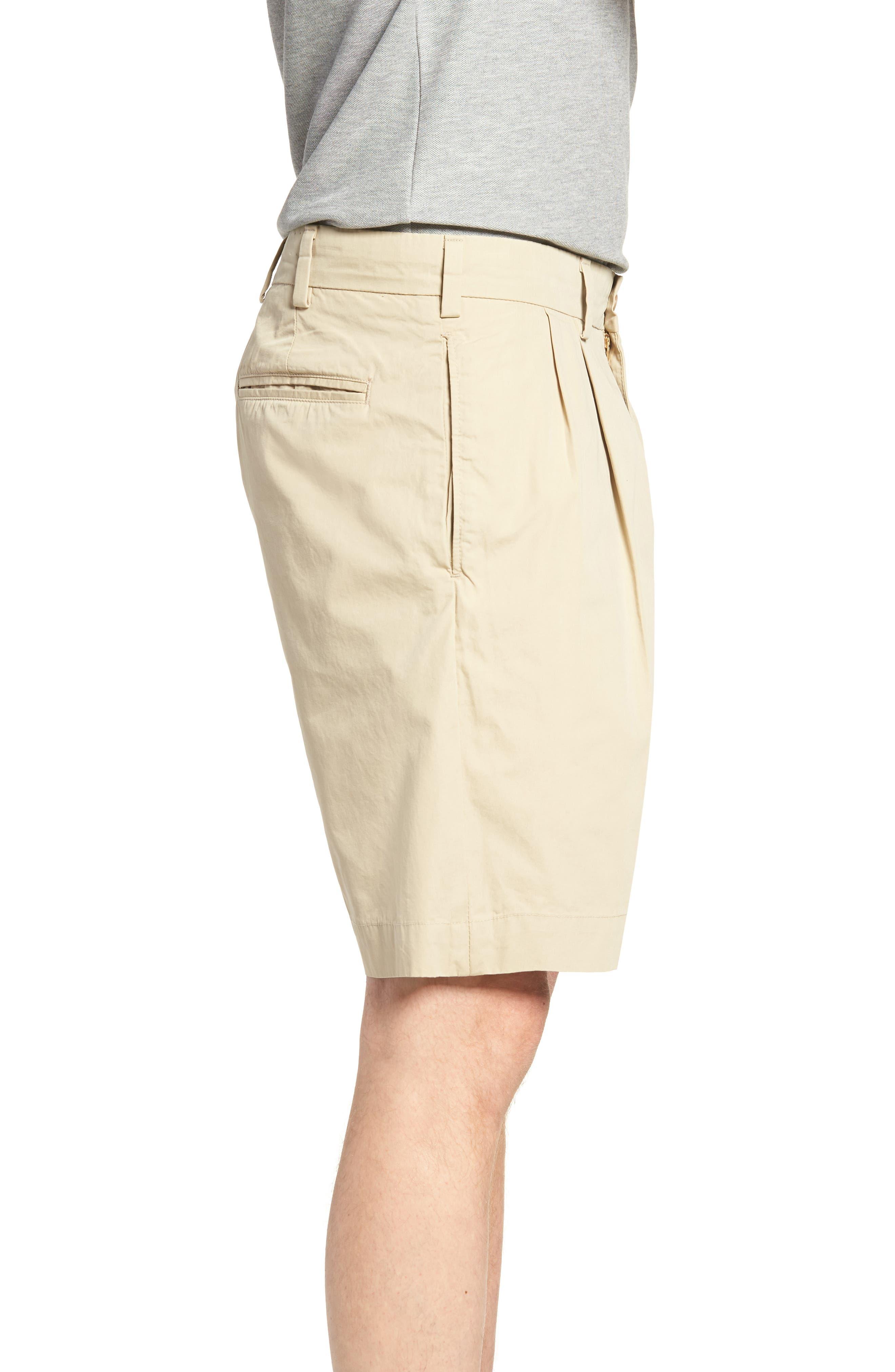 M2 Classic Fit Pleated Tropical Cotton Poplin Shorts,                             Alternate thumbnail 3, color,                             Khaki