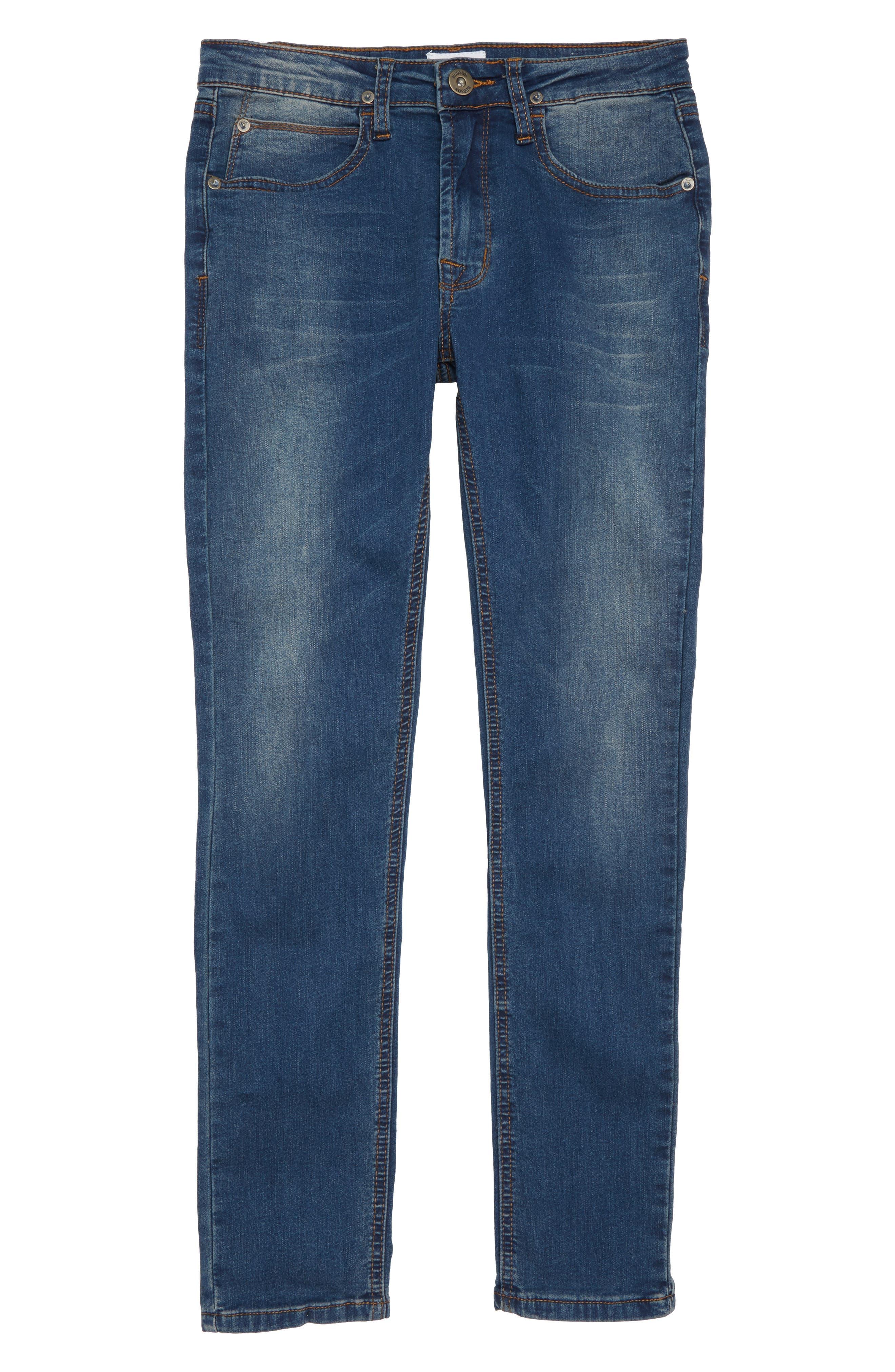 Jagger Slim Fit Straight Leg Jeans,                             Main thumbnail 1, color,                             Beaten Blue