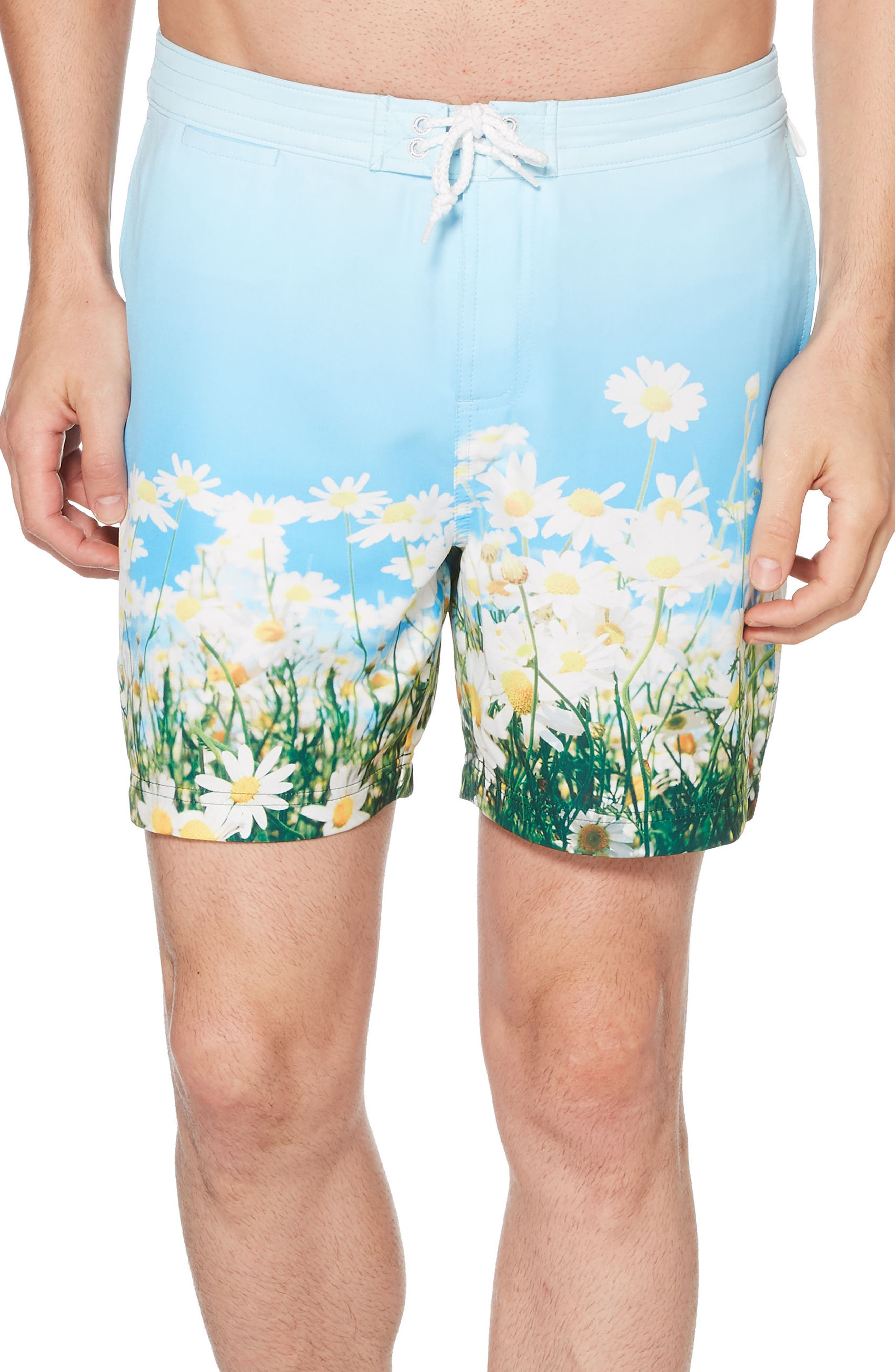 Photographic Daisy Swim Trunks,                             Main thumbnail 1, color,                             Omphalodes