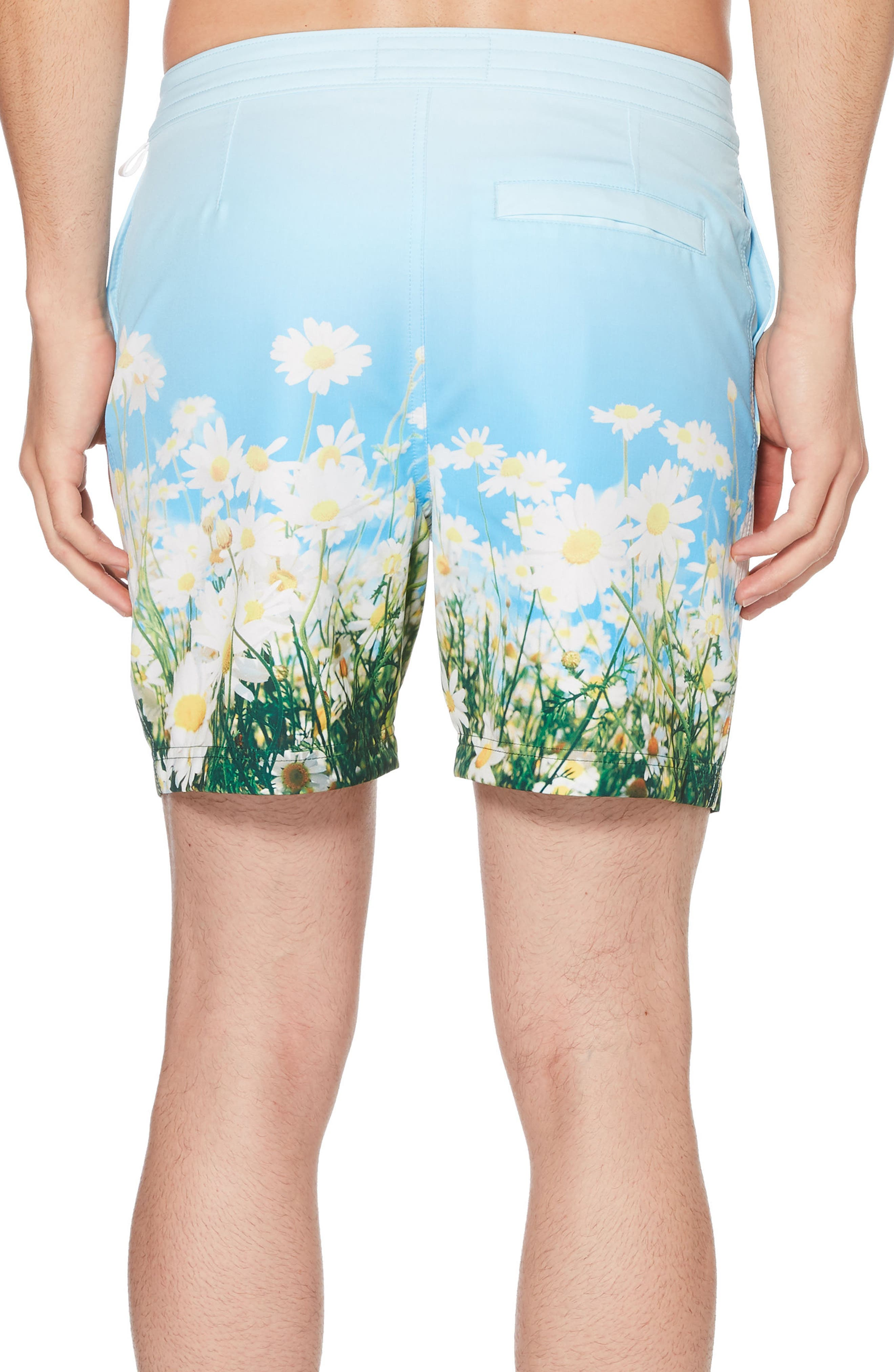 Photographic Daisy Swim Trunks,                             Alternate thumbnail 2, color,                             Omphalodes