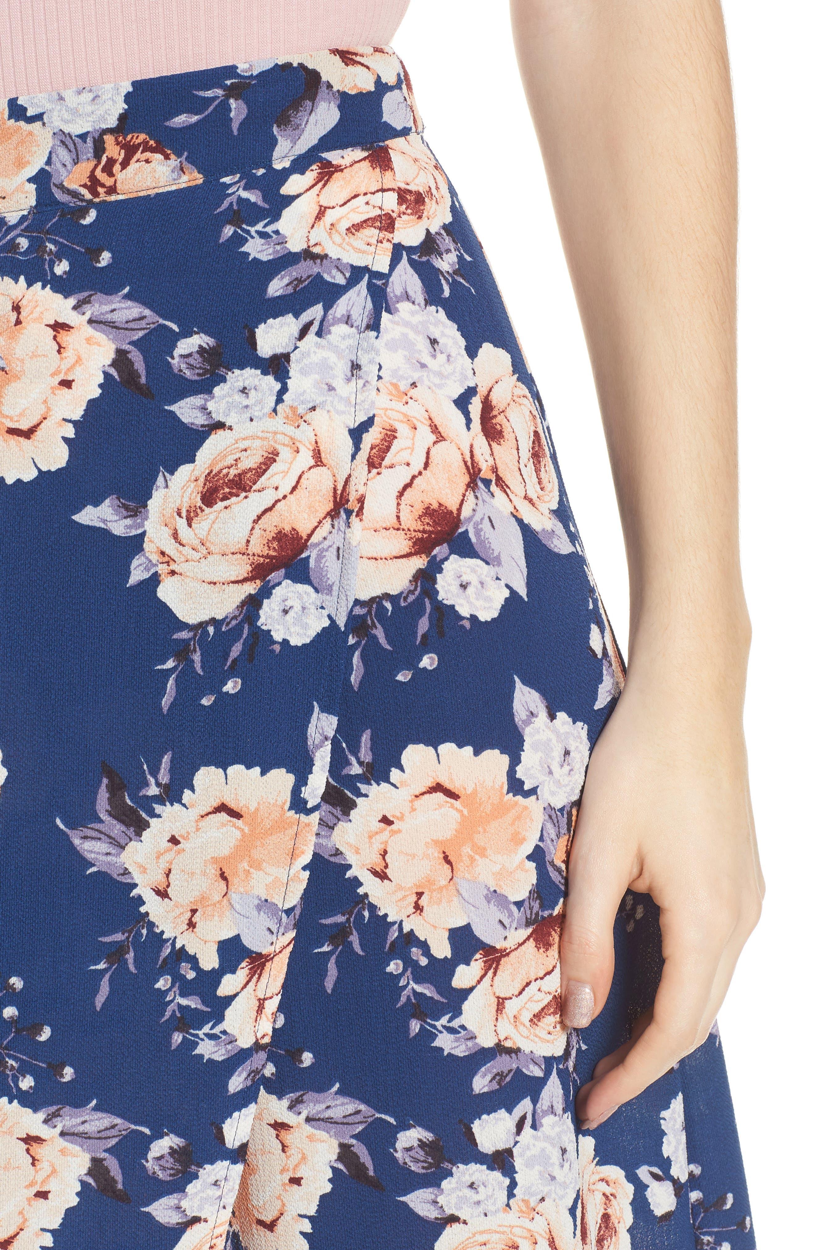 Floral Print Maxi Skirt,                             Alternate thumbnail 4, color,                             Blue Floral