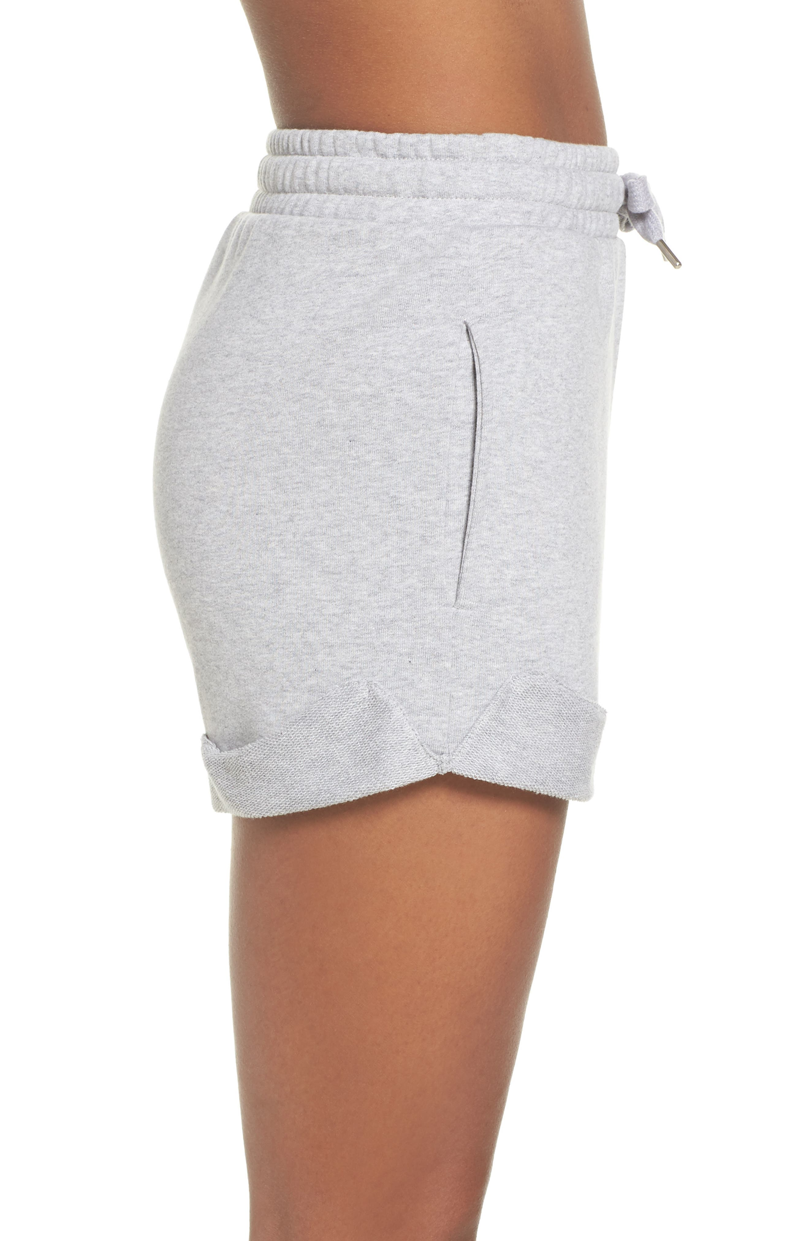 French Terry High Waist Shorts,                             Alternate thumbnail 3, color,                             Light Grey Marl