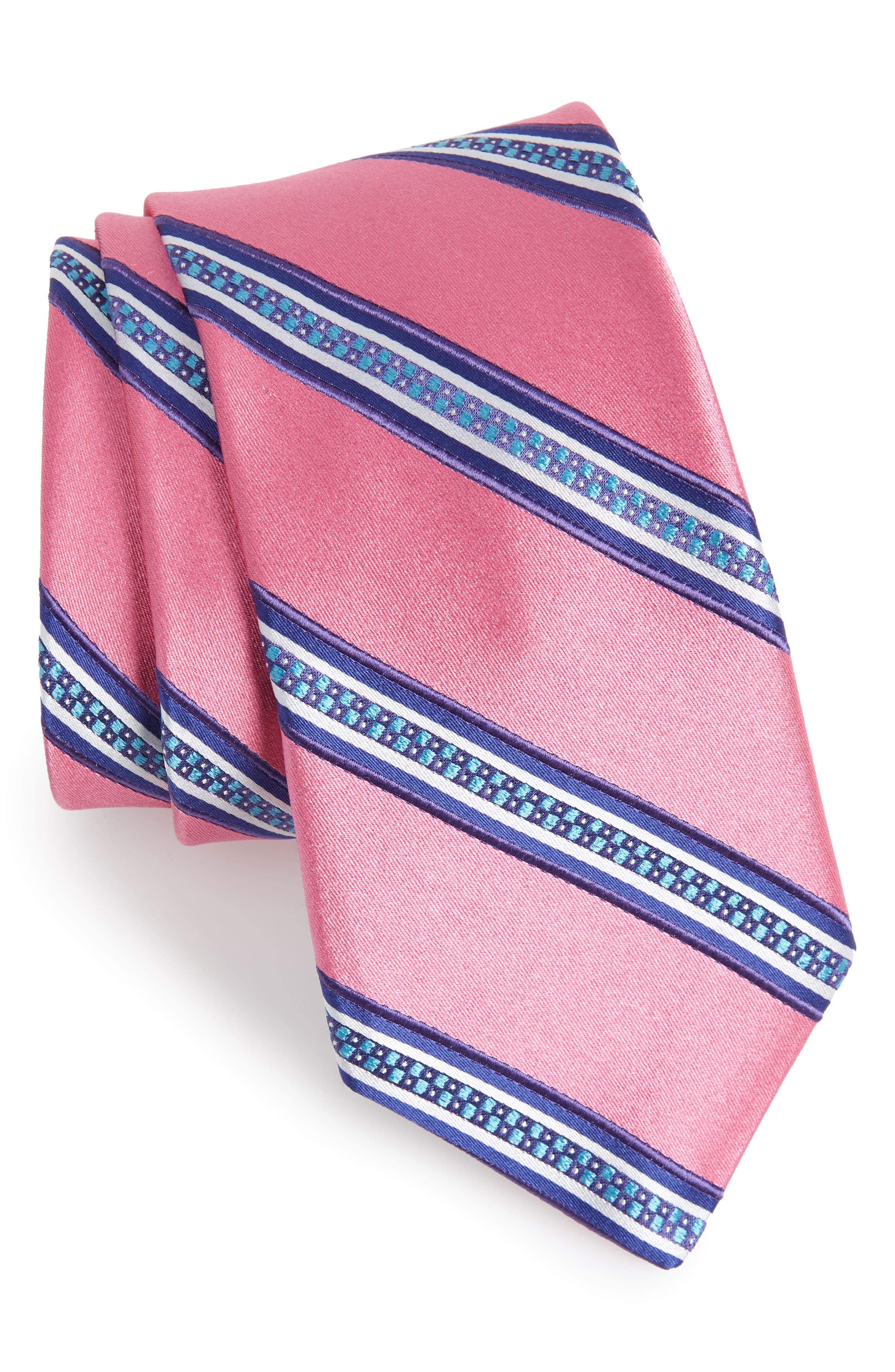 Stripe Silk Tie,                         Main,                         color, Pink