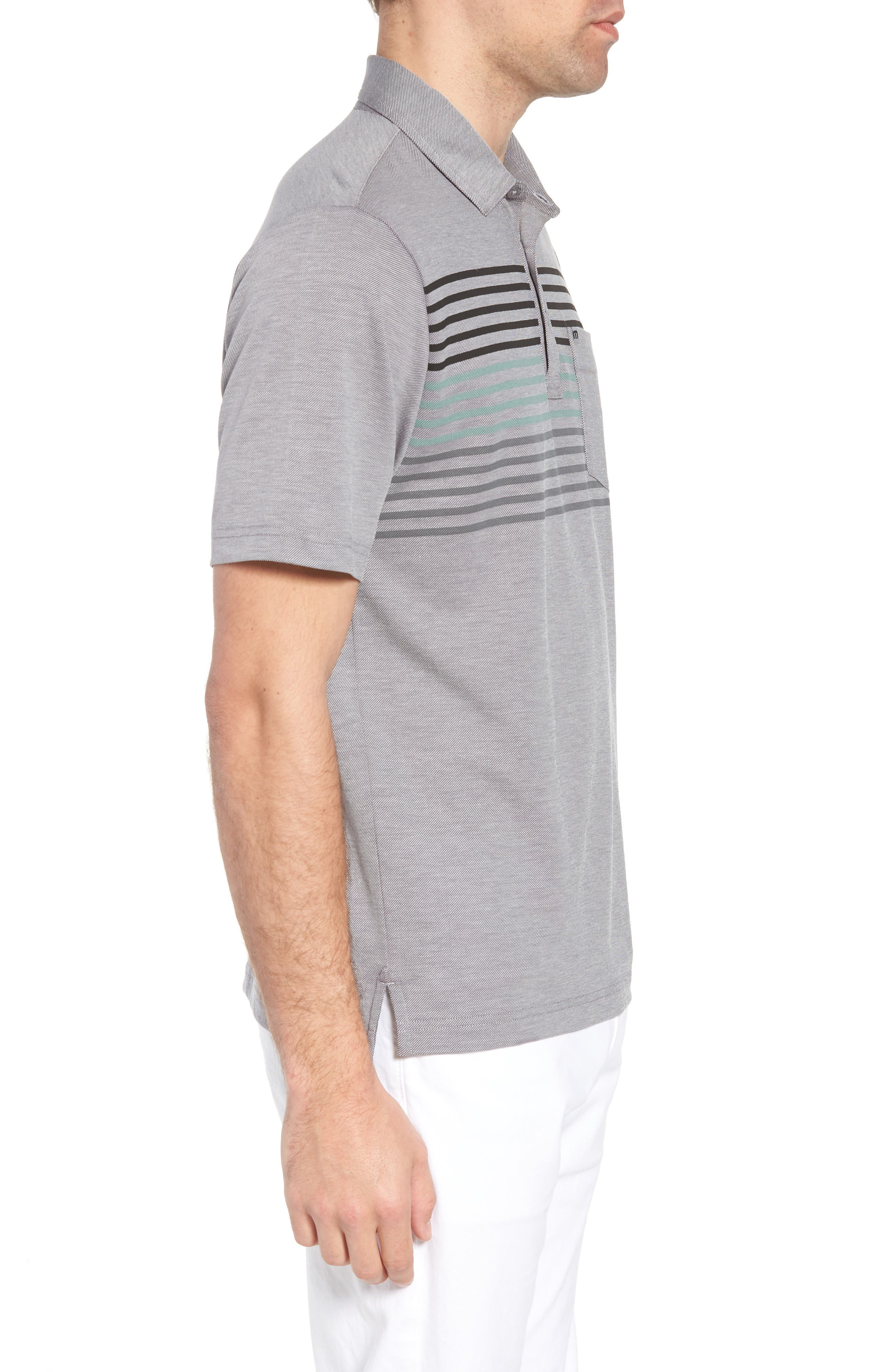 Whitney Regular Fit Stripe Piqué Polo,                             Alternate thumbnail 3, color,                             Heather Quiet Shade