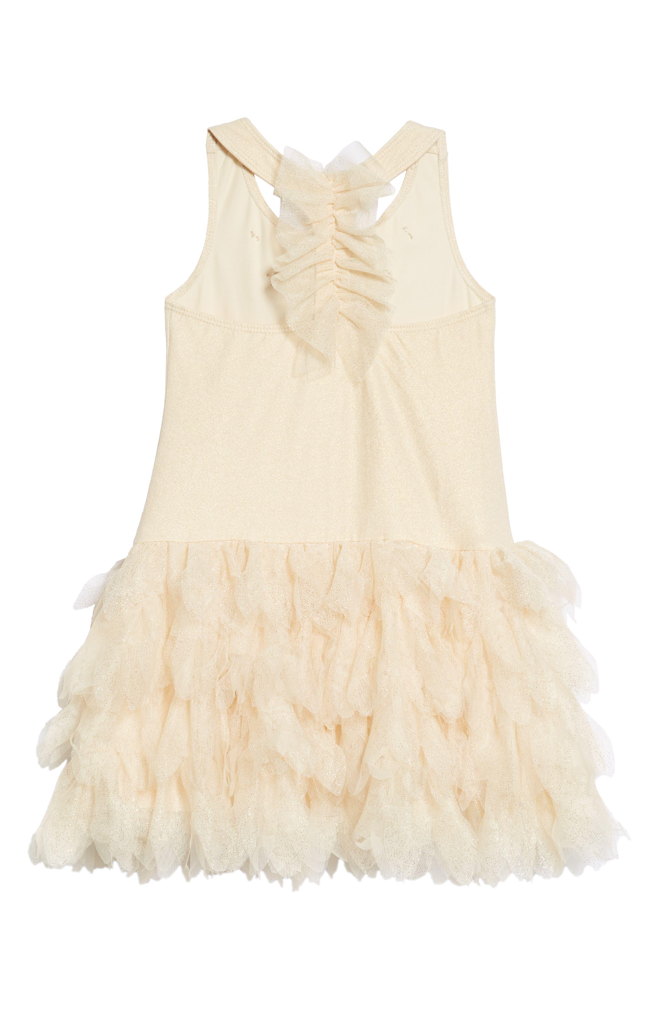 Sleeveless Tulle Dress,                             Alternate thumbnail 2, color,                             Gold