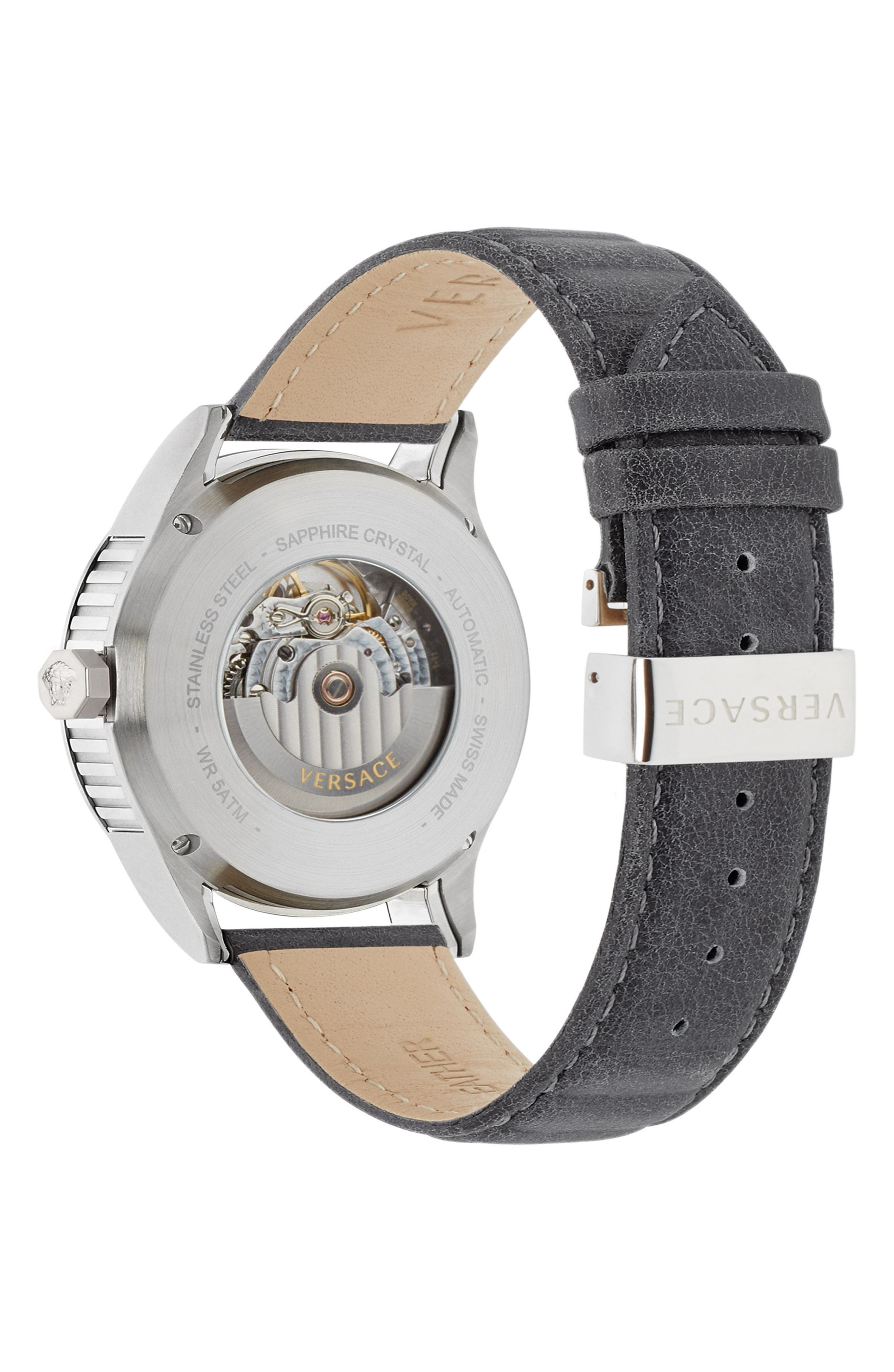 Aiakos Automatic Leather Strap Watch, 44mm,                             Alternate thumbnail 3, color,                             Grey/ Silver