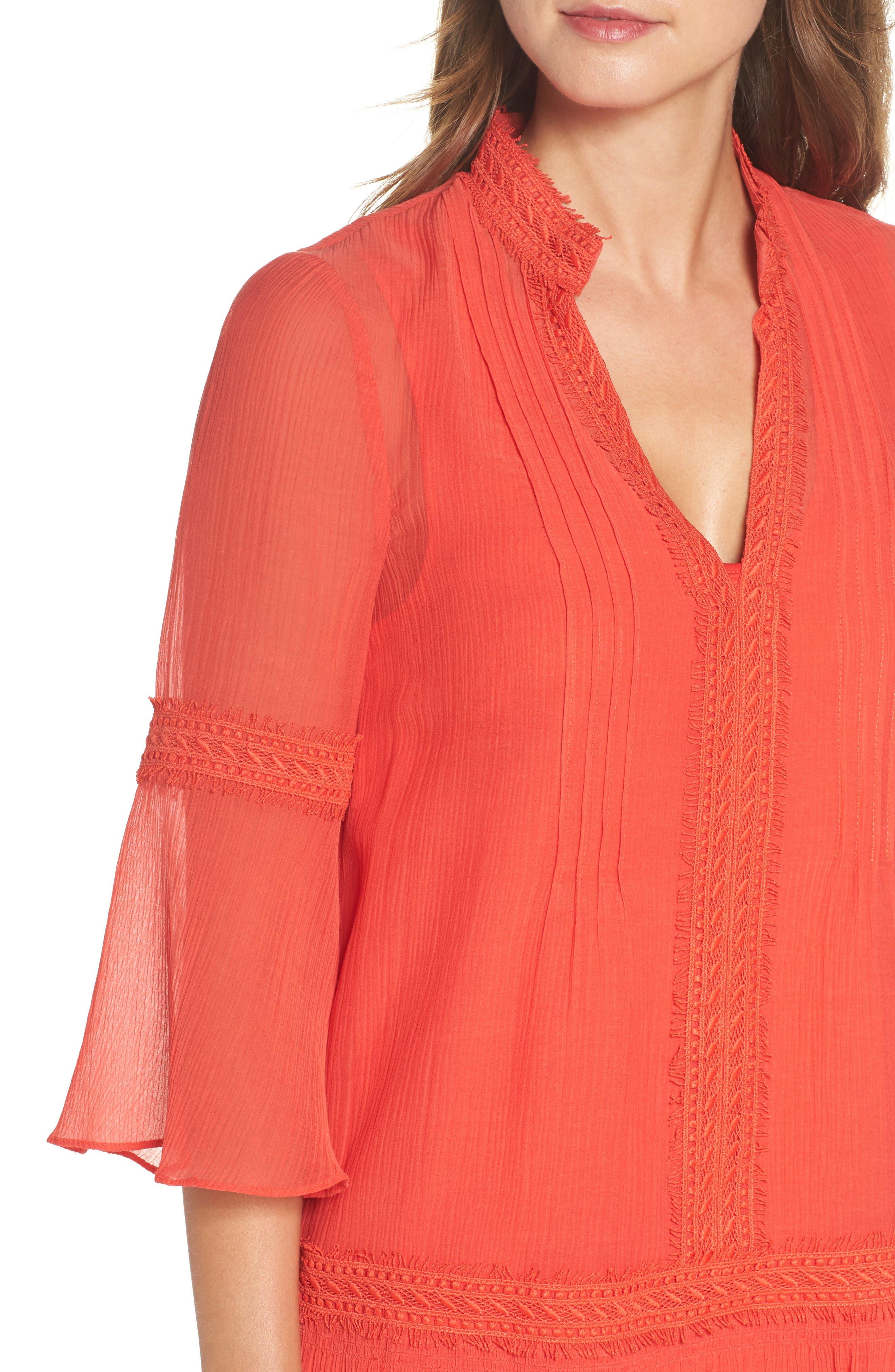 Mala Crinkle Shift Dress,                             Alternate thumbnail 4, color,                             Strawberry