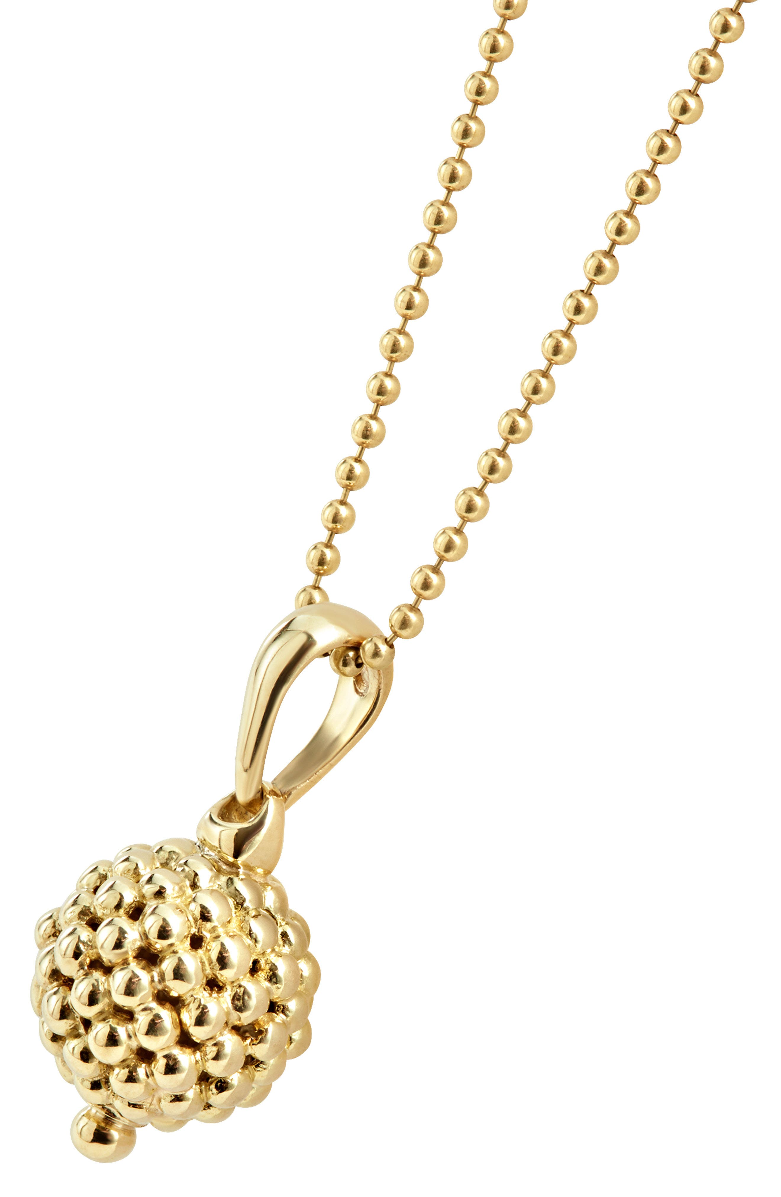 Caviar Gold Ball Pendant Necklace,                             Alternate thumbnail 3, color,                             Gold