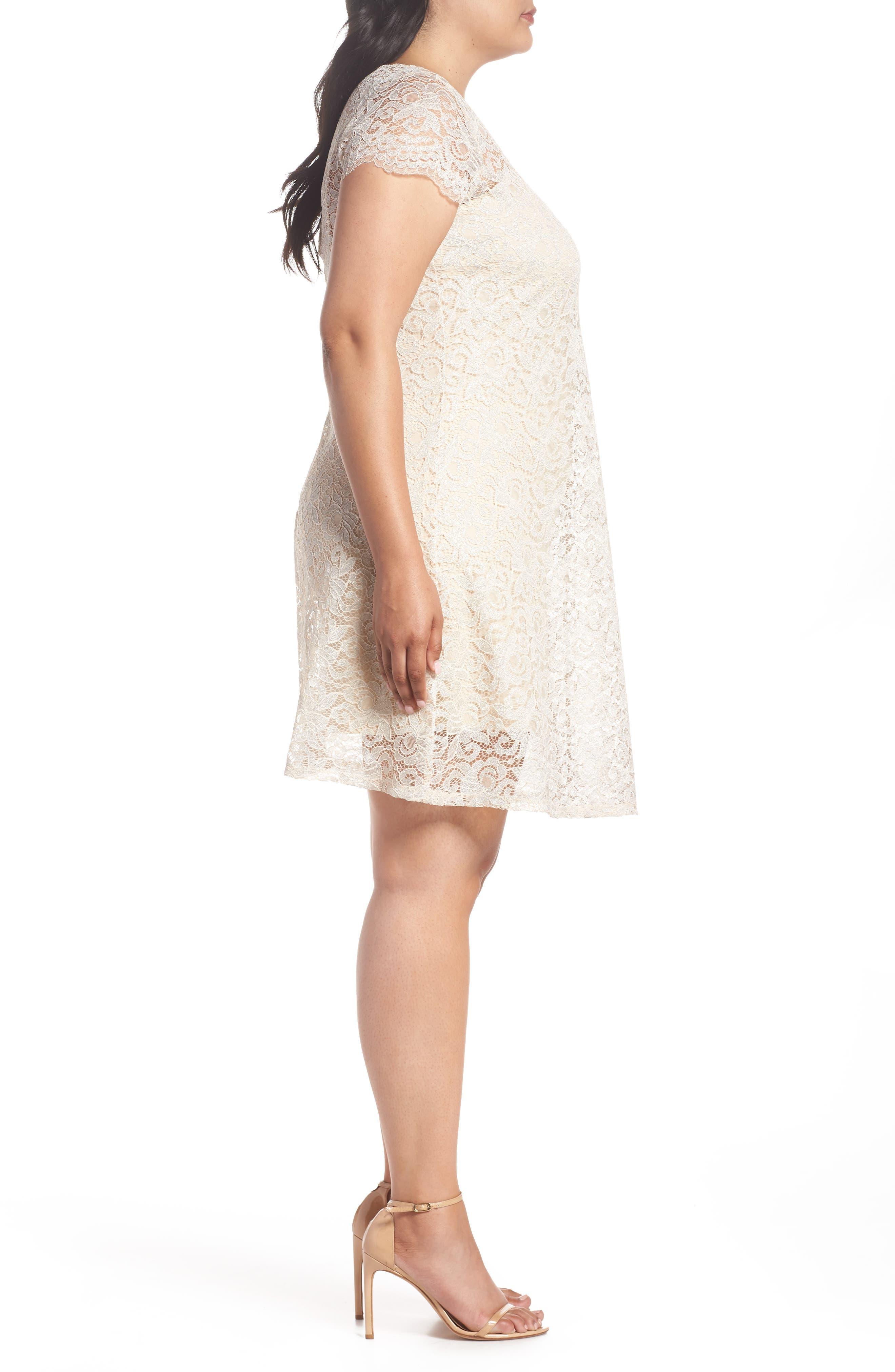 Lace A-Line Dress,                             Alternate thumbnail 3, color,                             Taupe