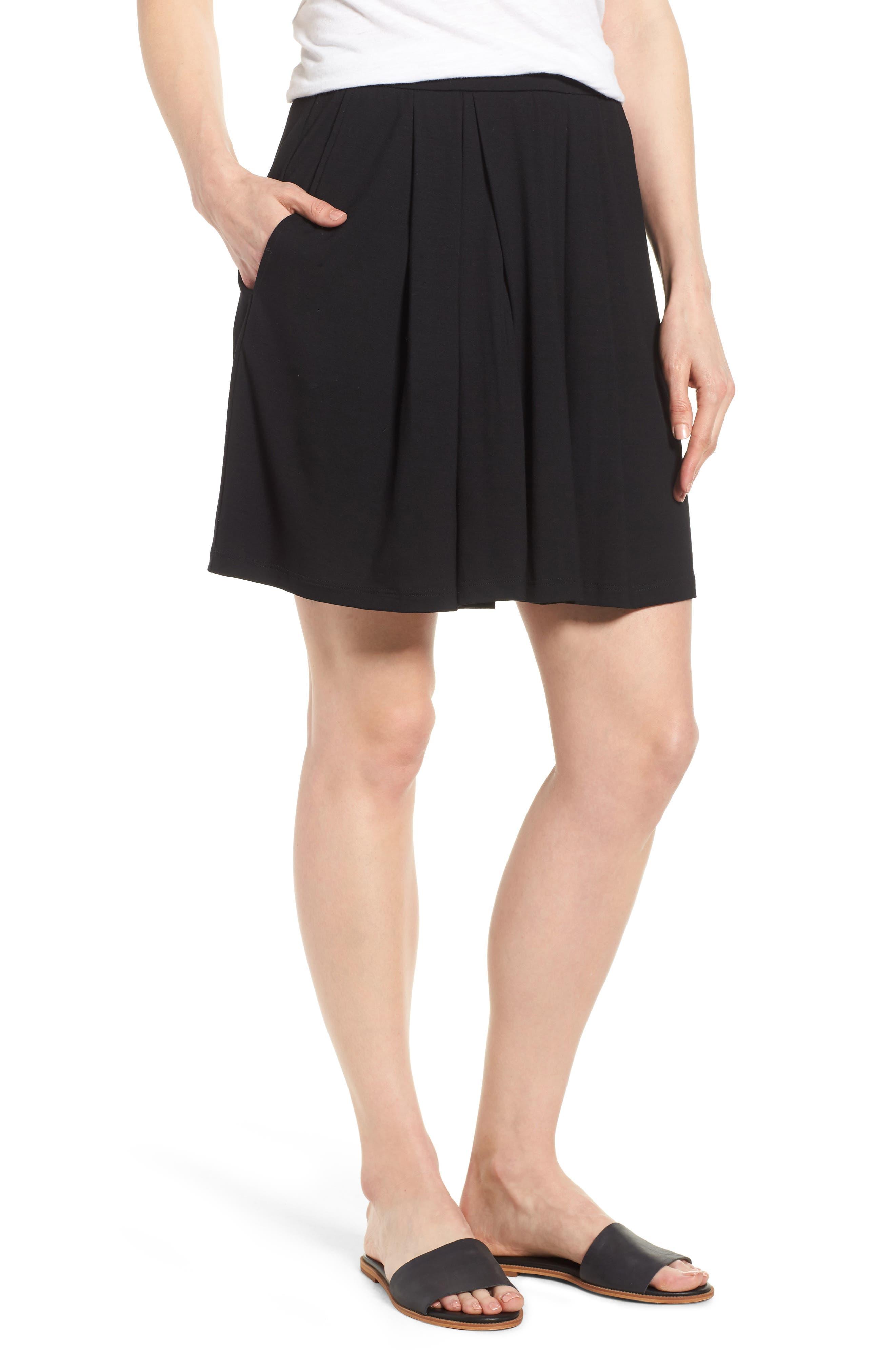 Pleated Jersey Walking Shorts,                             Main thumbnail 1, color,                             Black