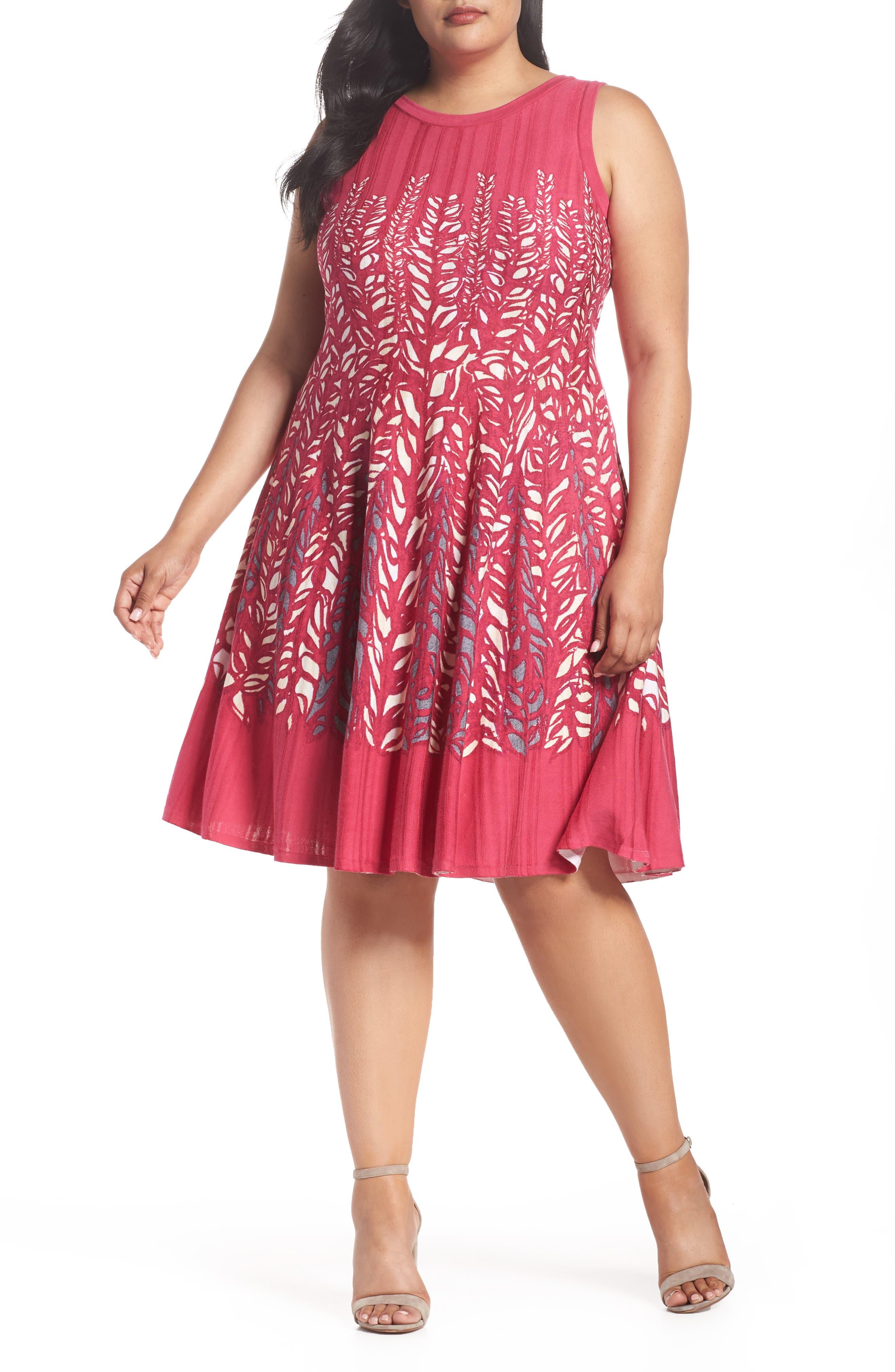 NIC+ZOE Tango Twirl Fit & Flare Knit Dress (Plus Size)