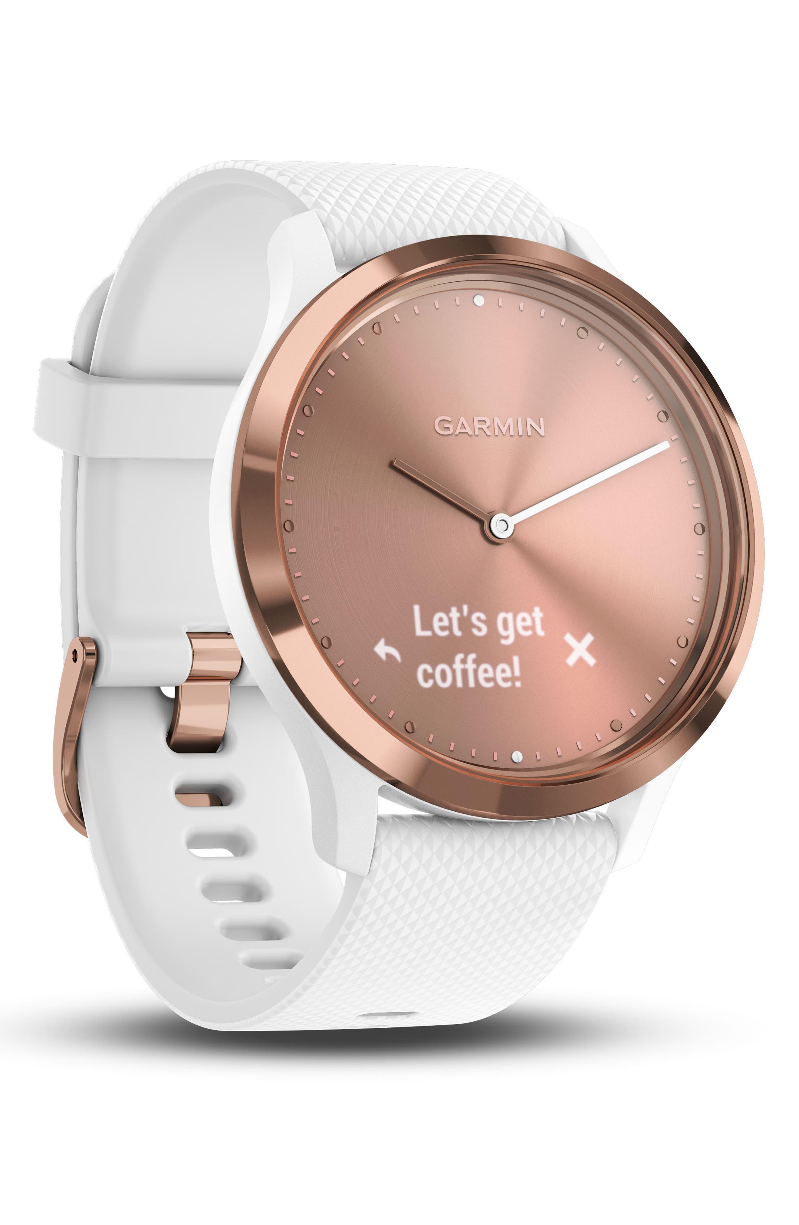 Vivomove HR Large Sport Hybrid Smart Watch,                             Alternate thumbnail 2, color,                             White/ Rose Gold/ Rose Gold