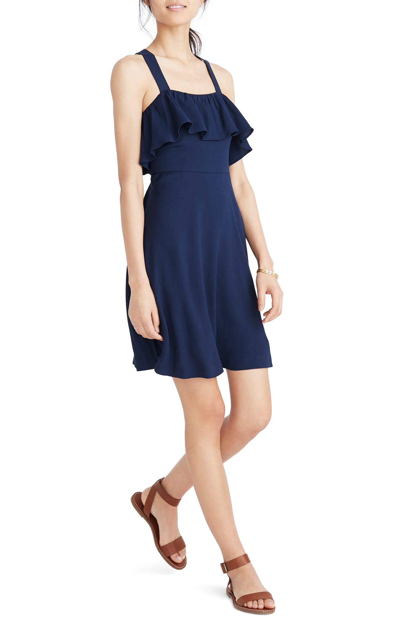 Apron Ruffle Dress,                         Main,                         color, Deep Navy