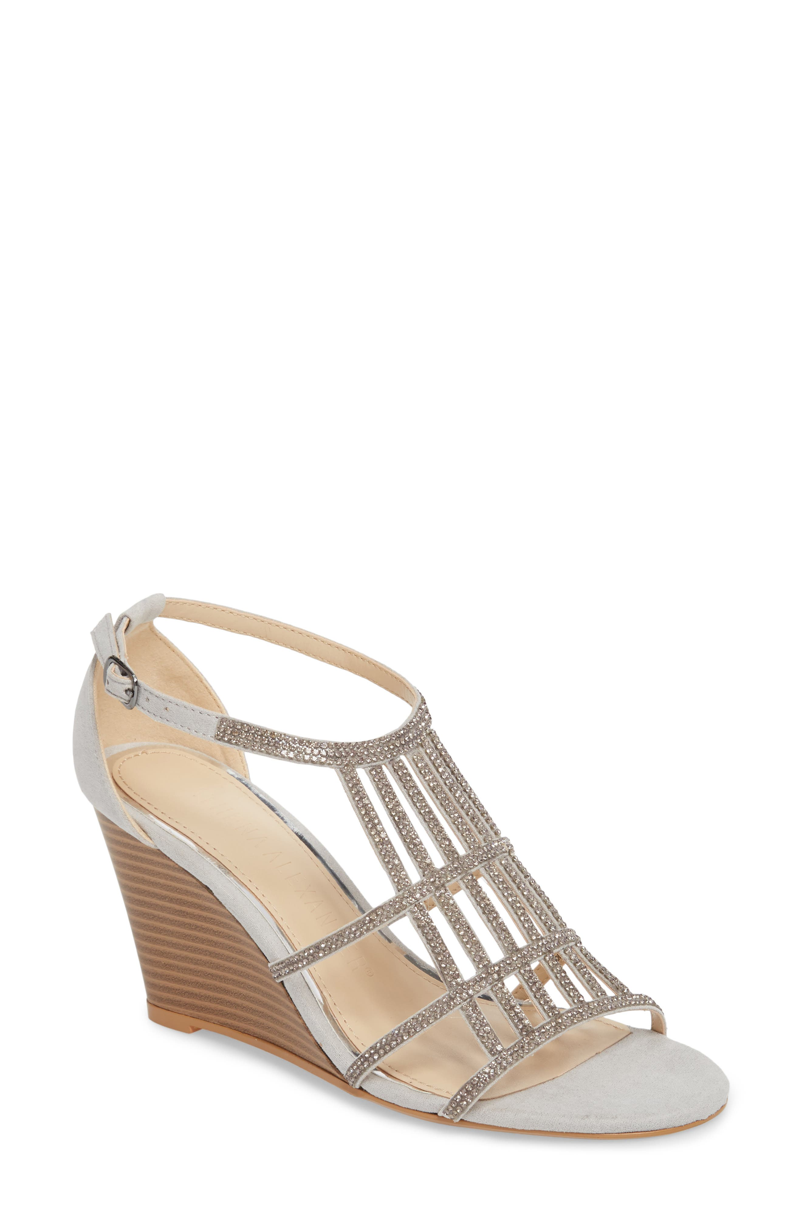 Hampton Crystal Embellished Wedge Sandal,                             Main thumbnail 1, color,                             Grey Suede