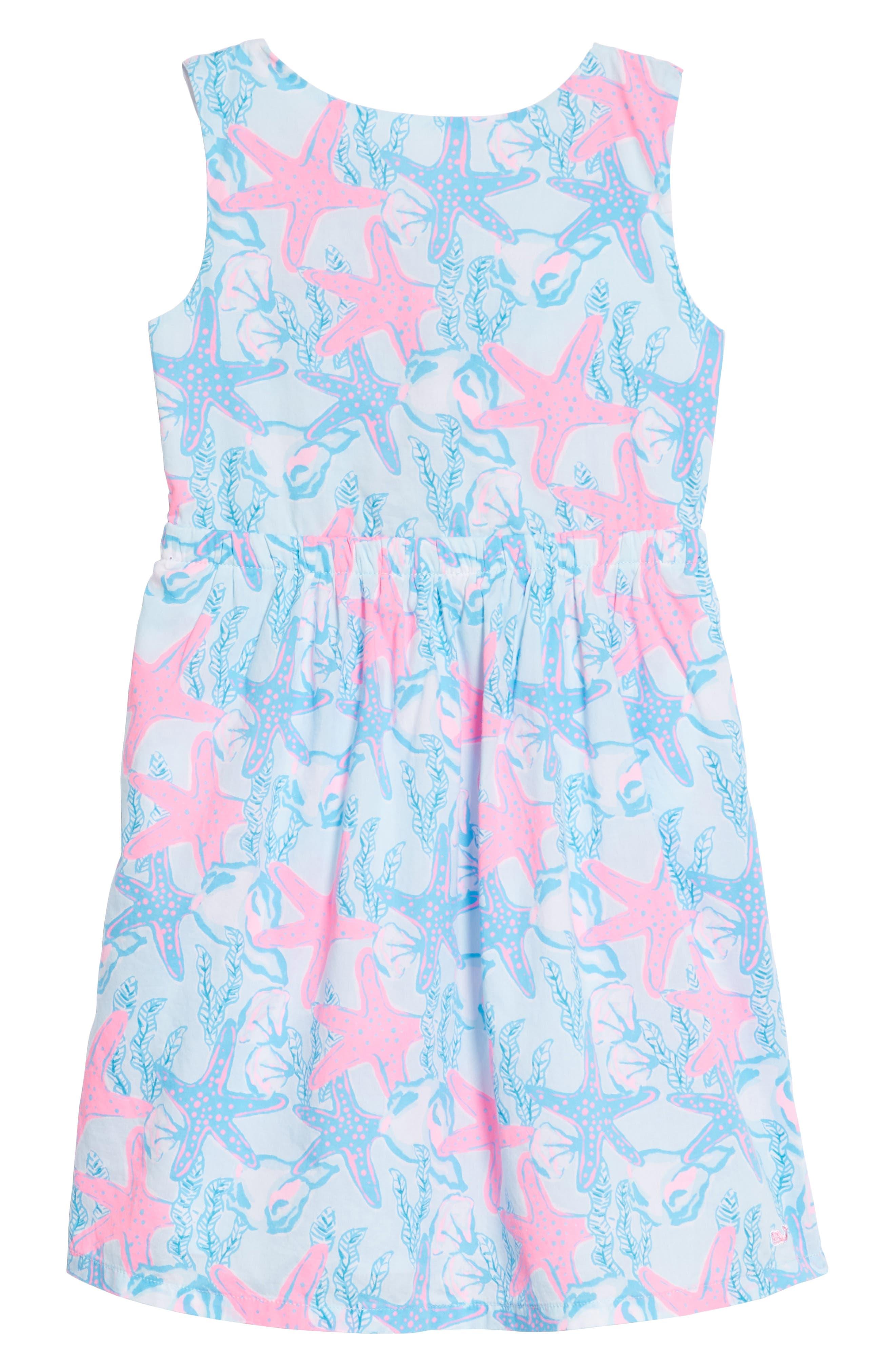 Sleeveless Print Dress,                         Main,                         color, Beachcomber Blue
