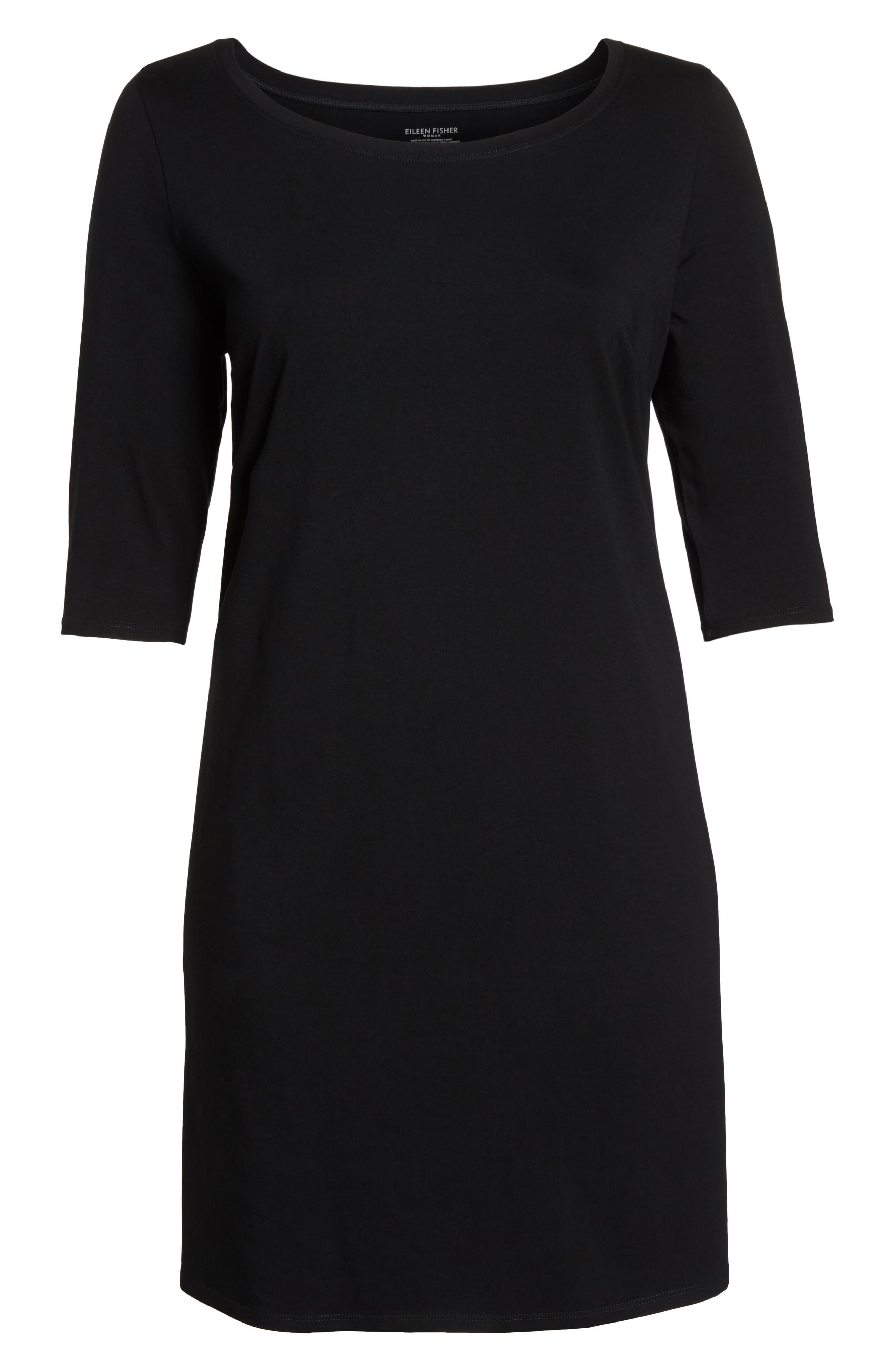 Stretch Organic Cotton Shift Dress,                             Alternate thumbnail 7, color,                             Black