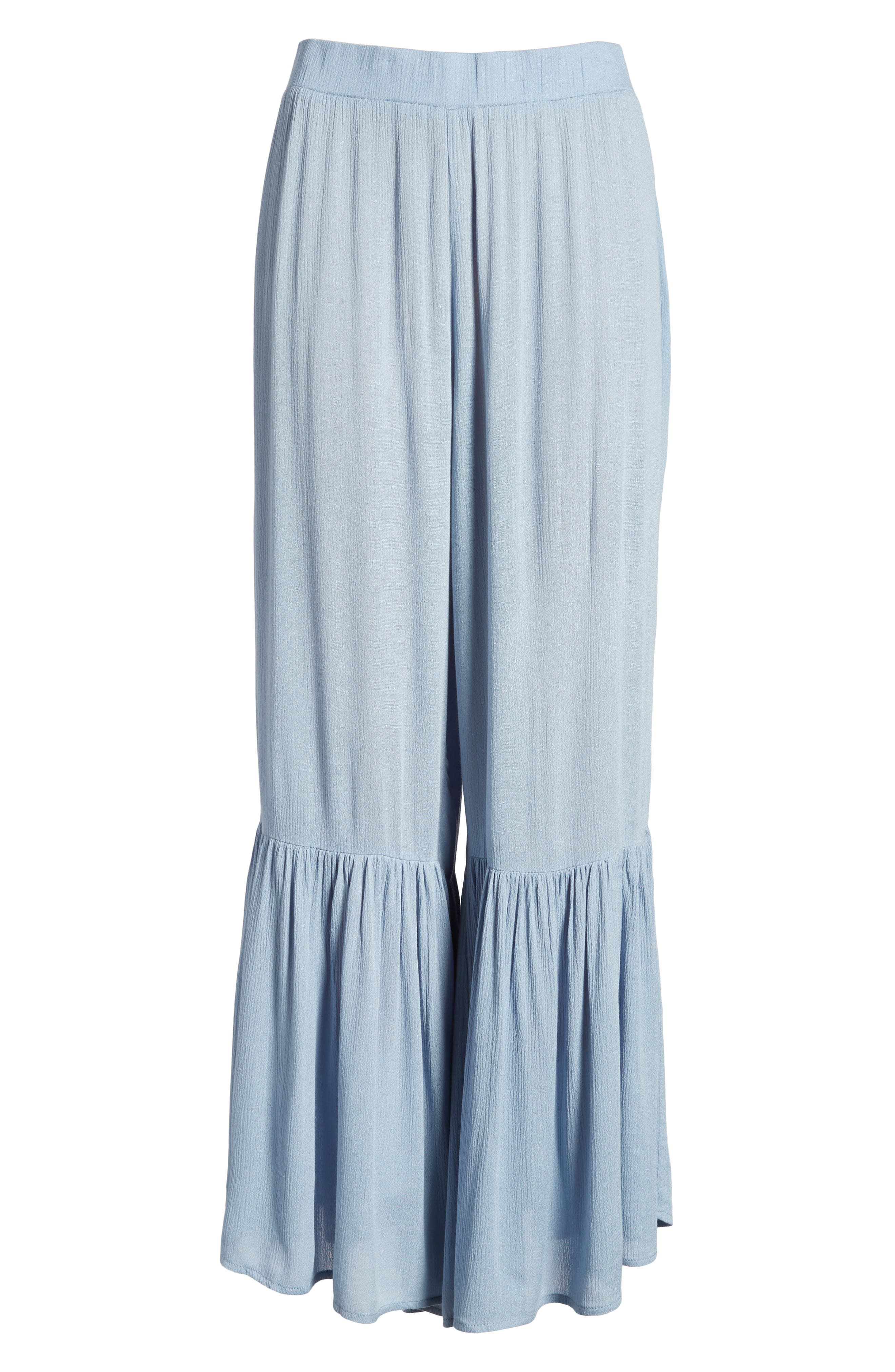 Mystique Ruffle Hem Beach Pants,                             Alternate thumbnail 8, color,                             Blue