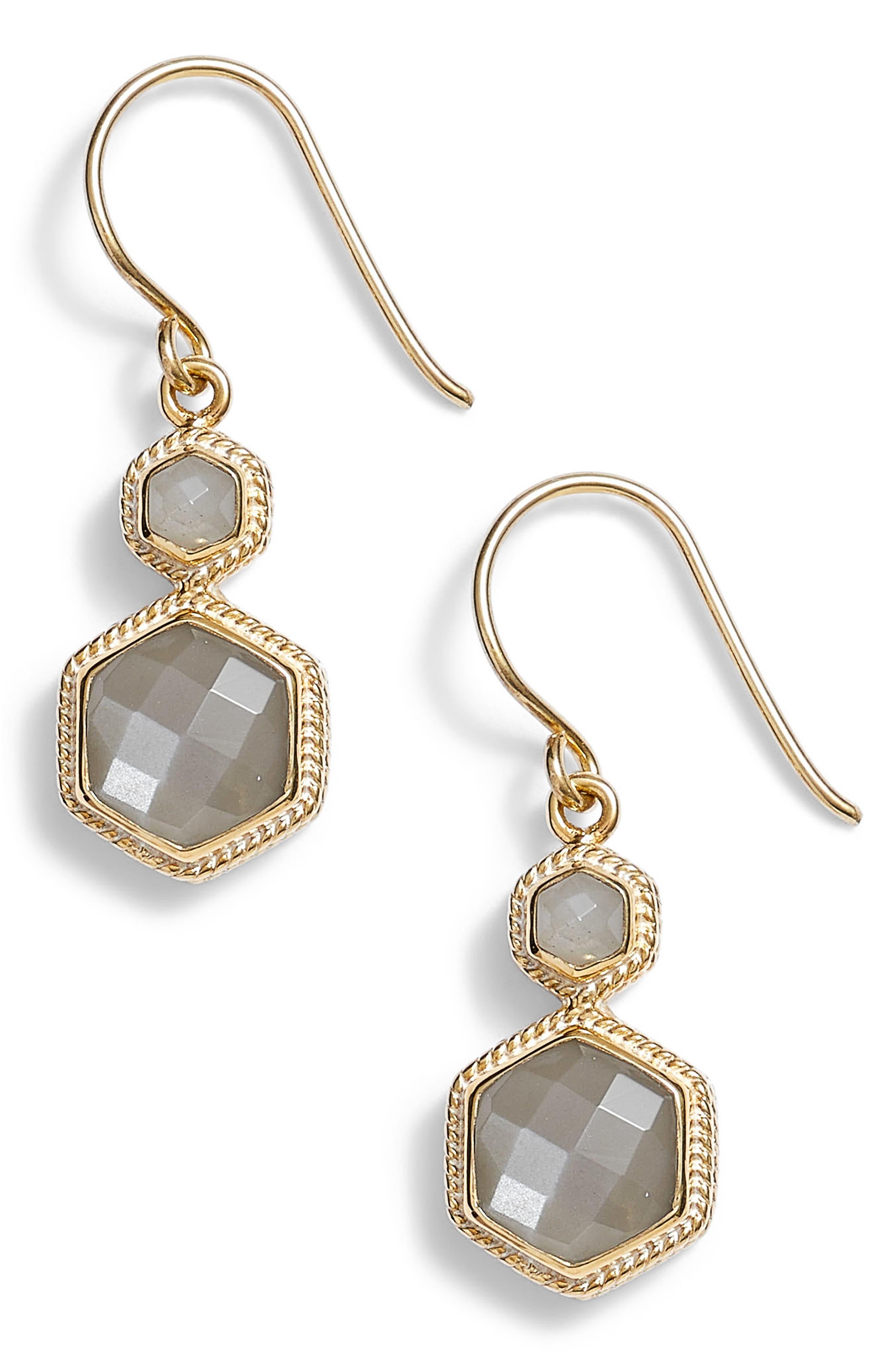 Grey Moonstone Double Drop Earrings,                             Main thumbnail 1, color,                             Gold/ Grey Moonstone