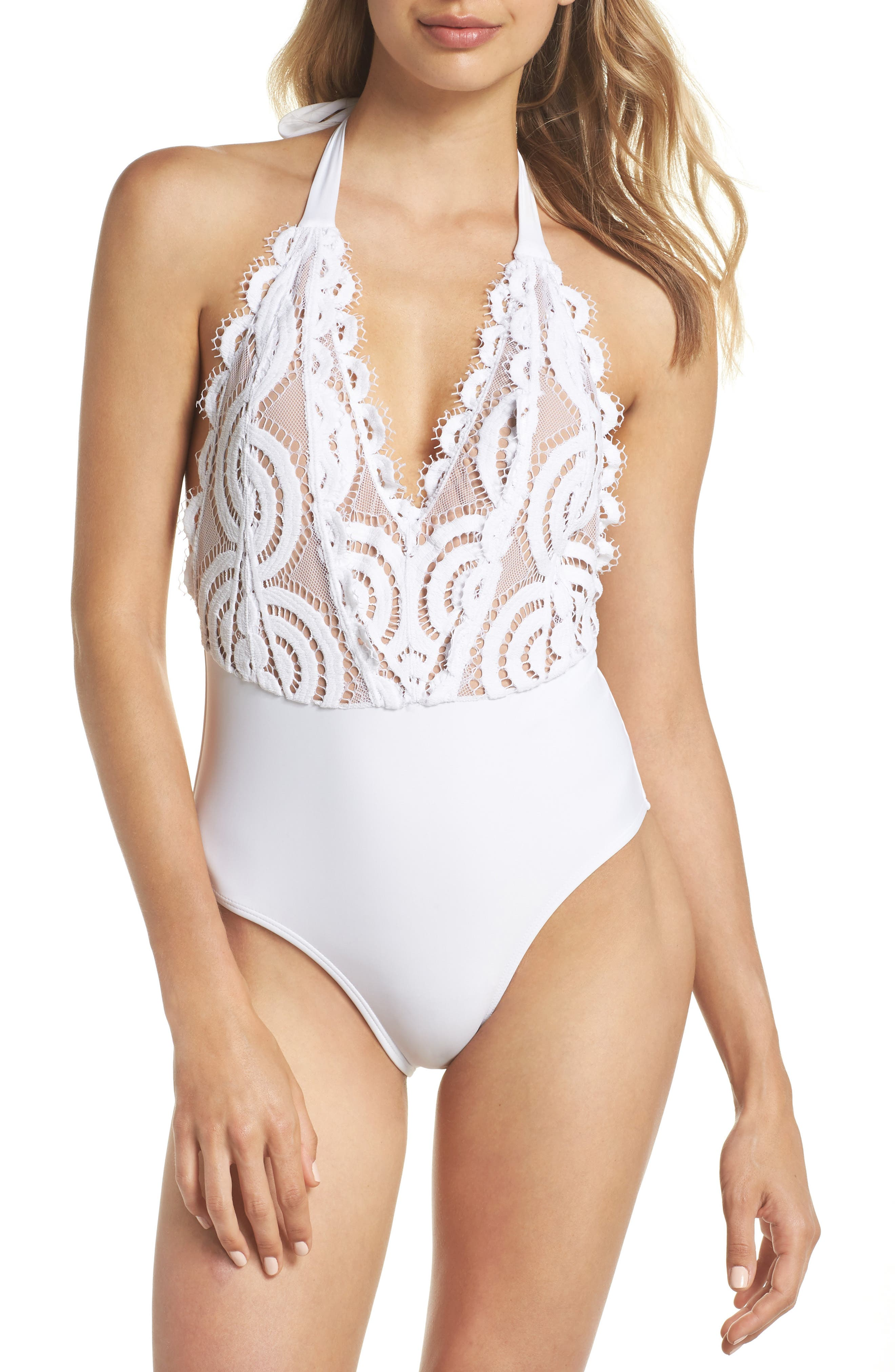 Lace Halter One-Piece Swimsuit,                             Main thumbnail 1, color,                             Water Lily