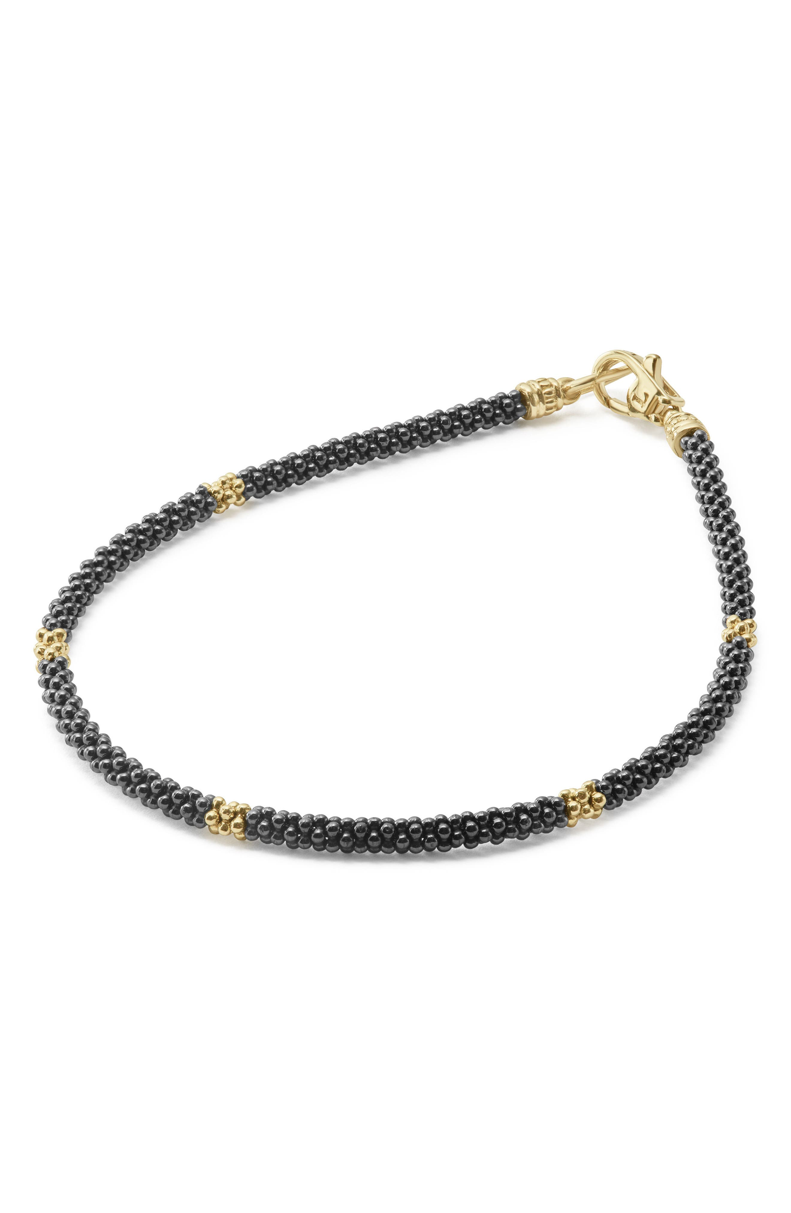 Gold & Black Caviar Rope Bracelet,                             Alternate thumbnail 4, color,                             Gold
