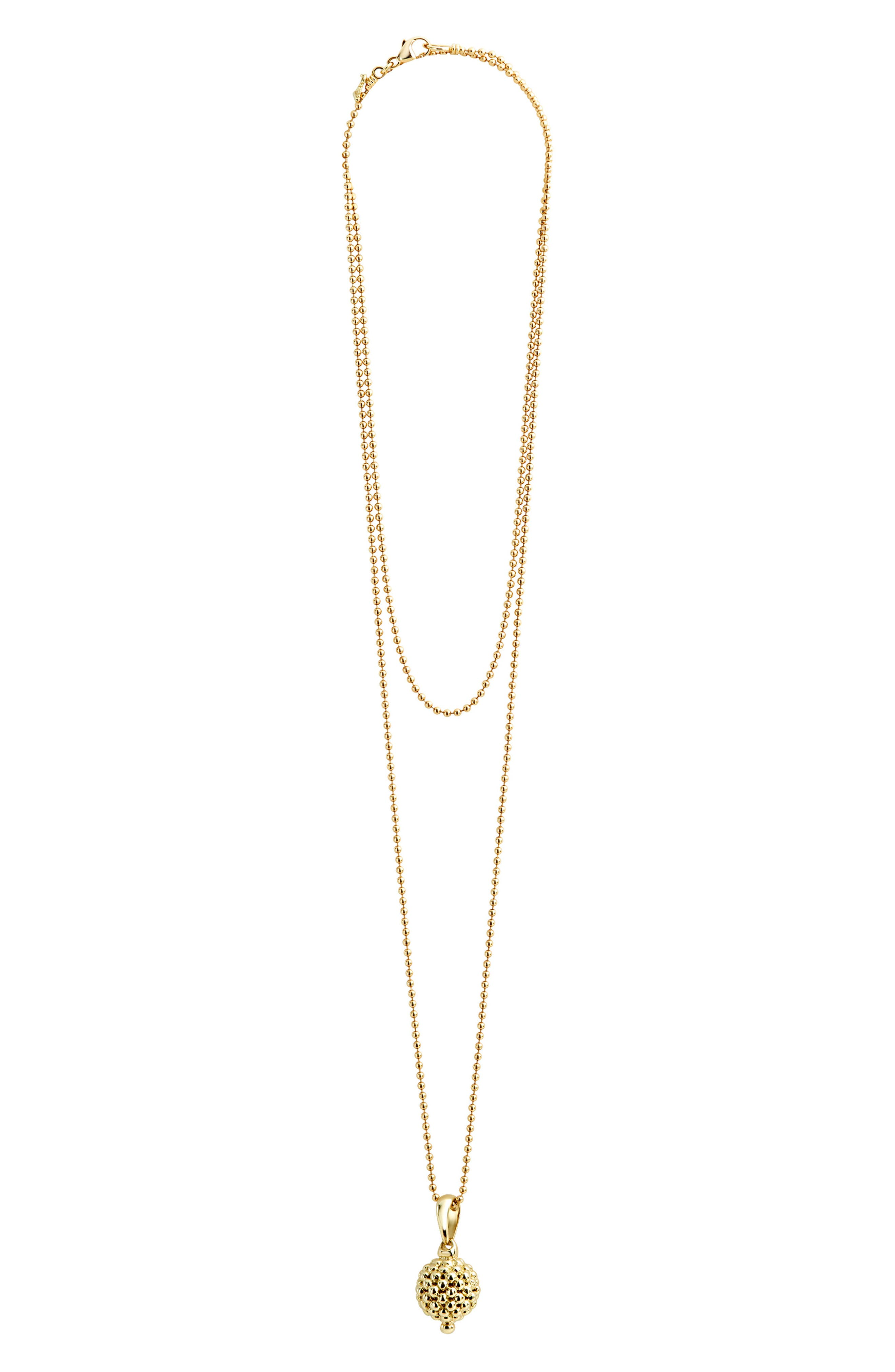 Caviar Gold Ball Pendant Necklace,                             Main thumbnail 1, color,                             Gold