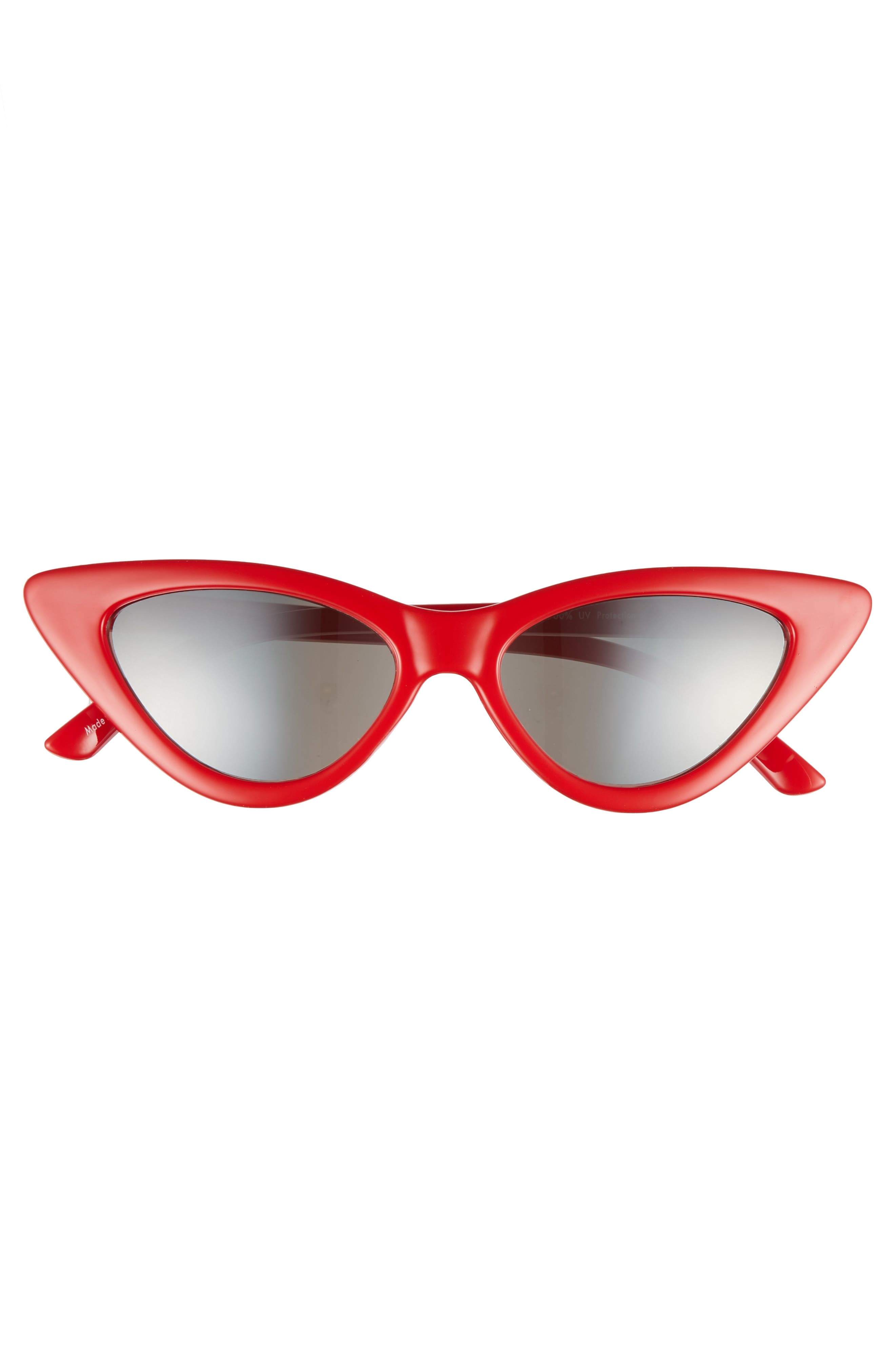 62mm Cat Eye Sunglasses,                             Alternate thumbnail 3, color,                             Red/ Silver