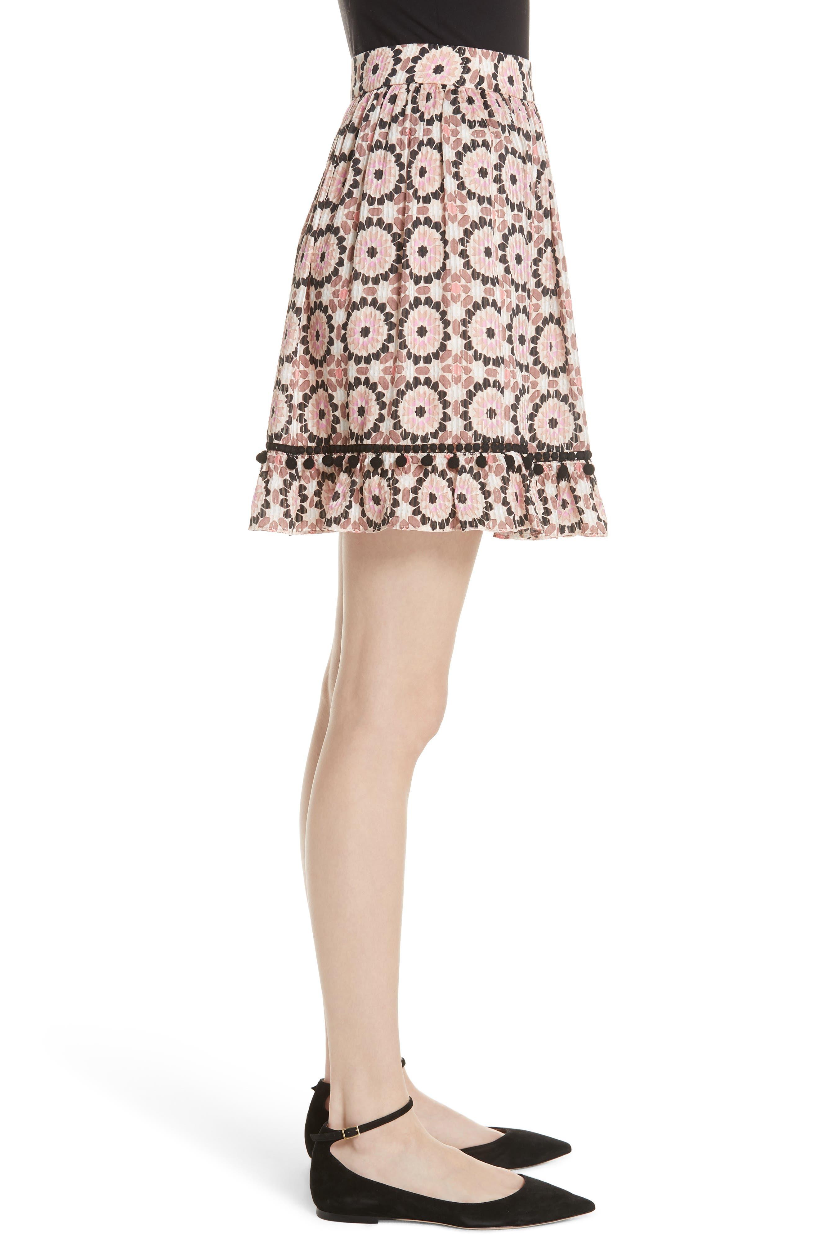 floral mosaic silk blend skirt,                             Alternate thumbnail 3, color,                             Pearl Pink Multi