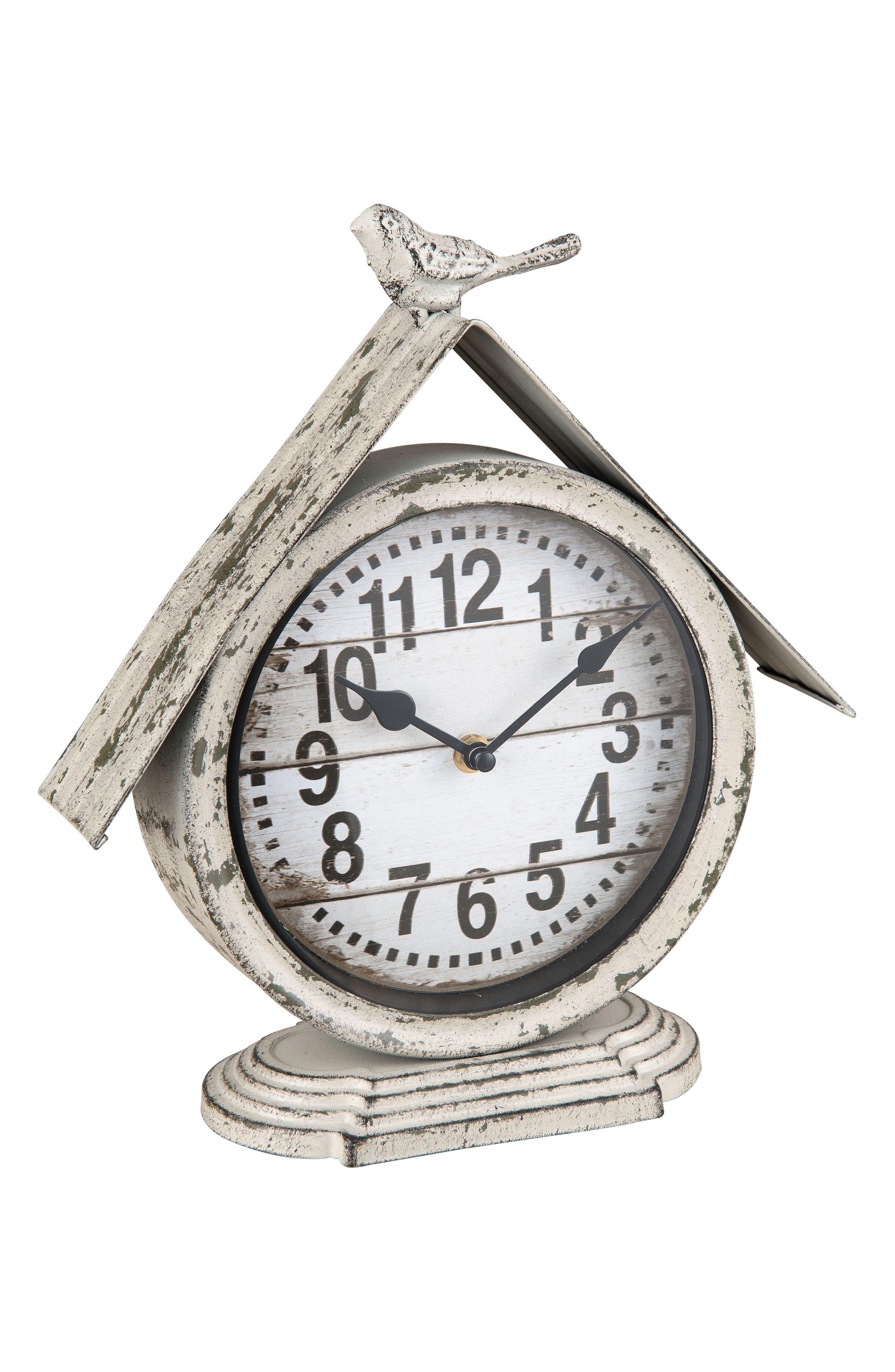 Birdhouse Clock,                         Main,                         color, Metal/ Glass