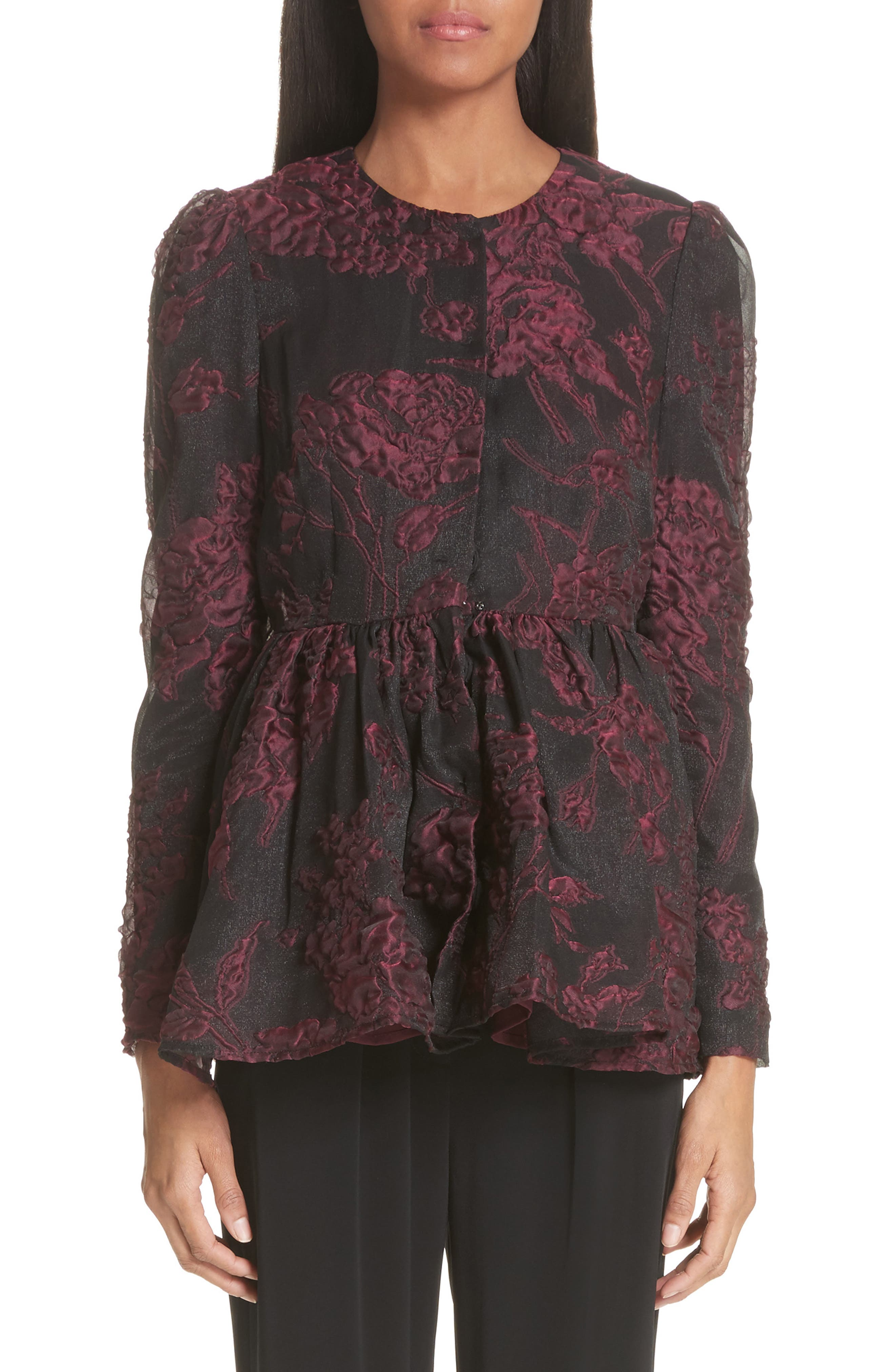 Floral Silk Blend Jacquard Peplum Jacket,                             Main thumbnail 1, color,                             Black/ Plum