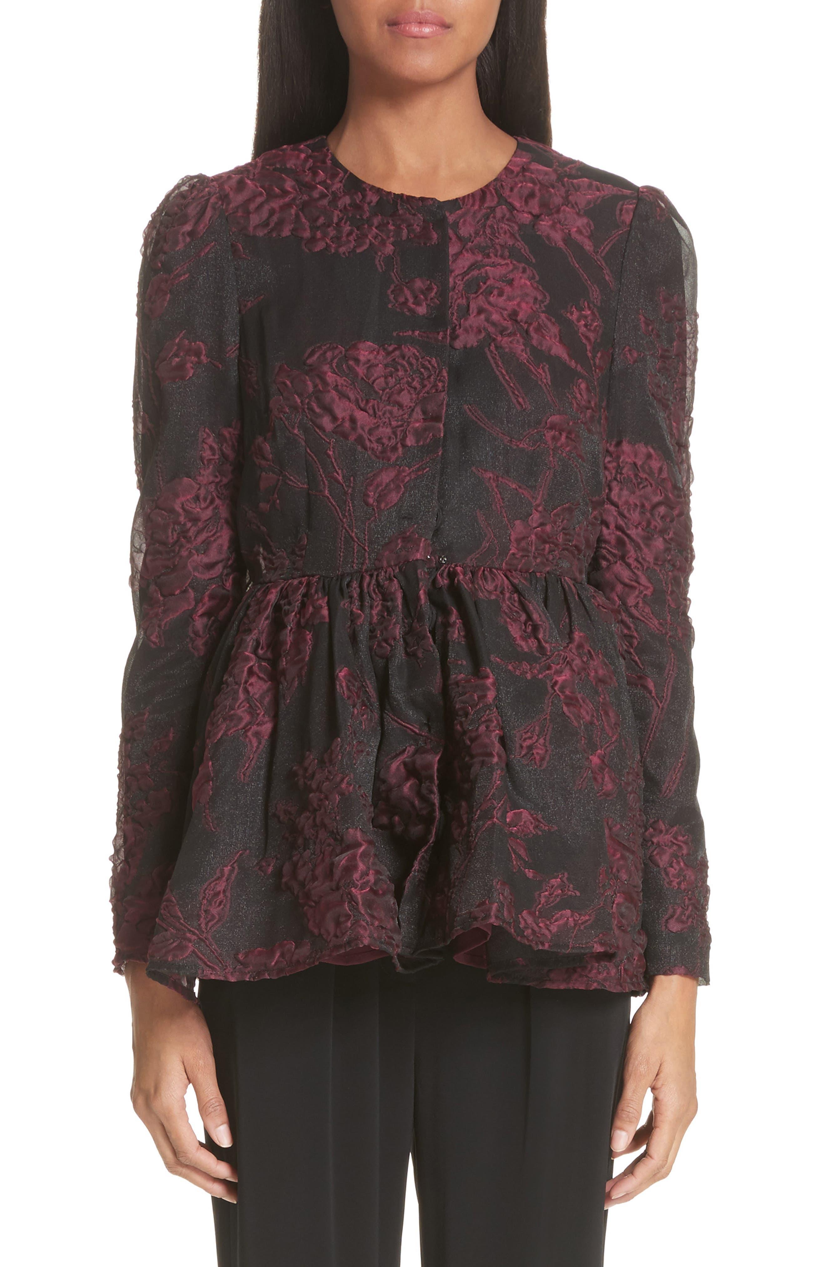 Floral Silk Blend Jacquard Peplum Jacket,                         Main,                         color, Black/ Plum