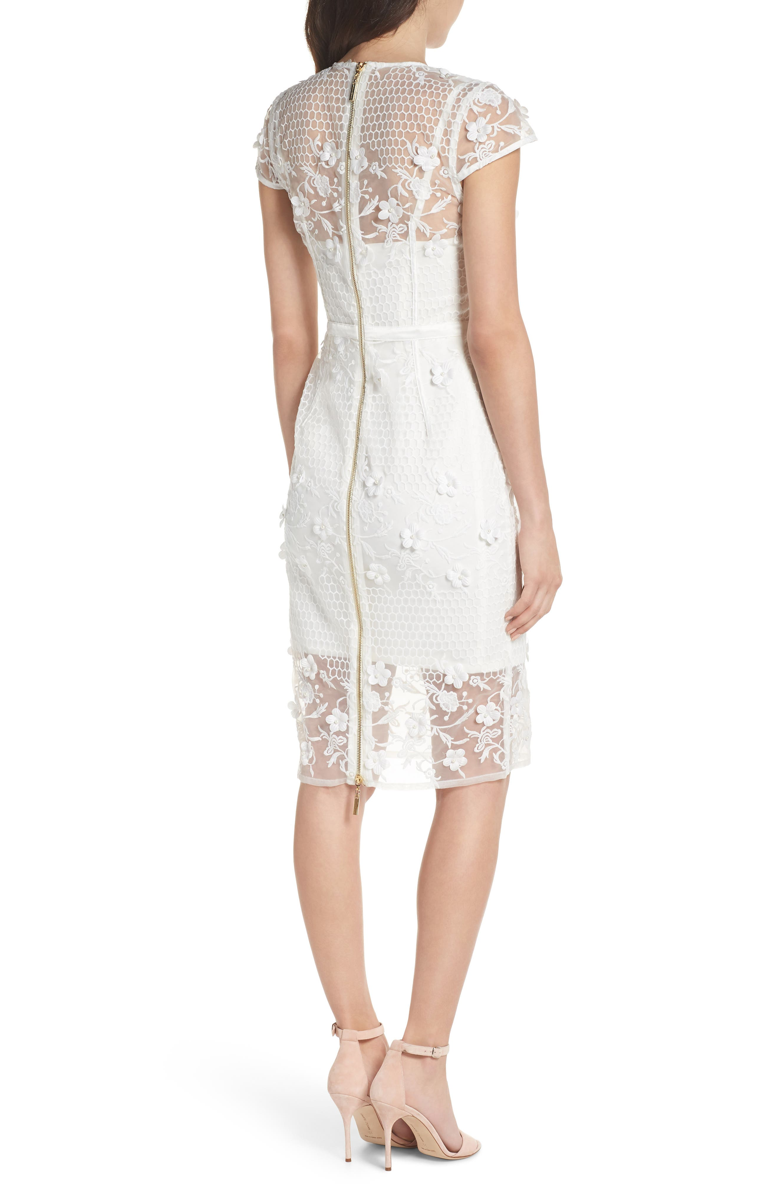 Osa Embroidered Cap Sleeve Organza Dress,                             Alternate thumbnail 2, color,                             White