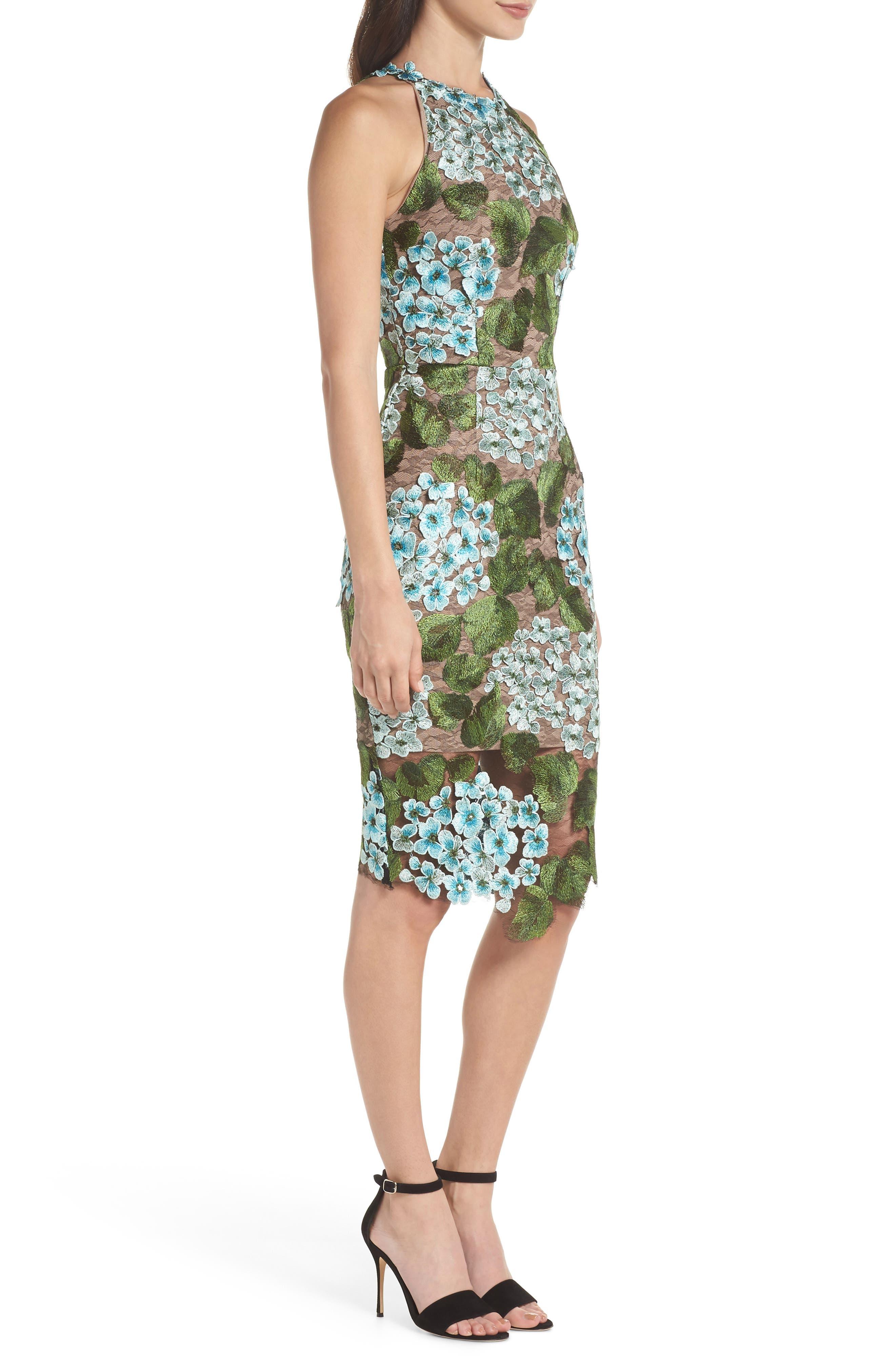 Blue Cherry Hydrangea Lace Sheath Dress,                             Alternate thumbnail 3, color,                             Multicolor