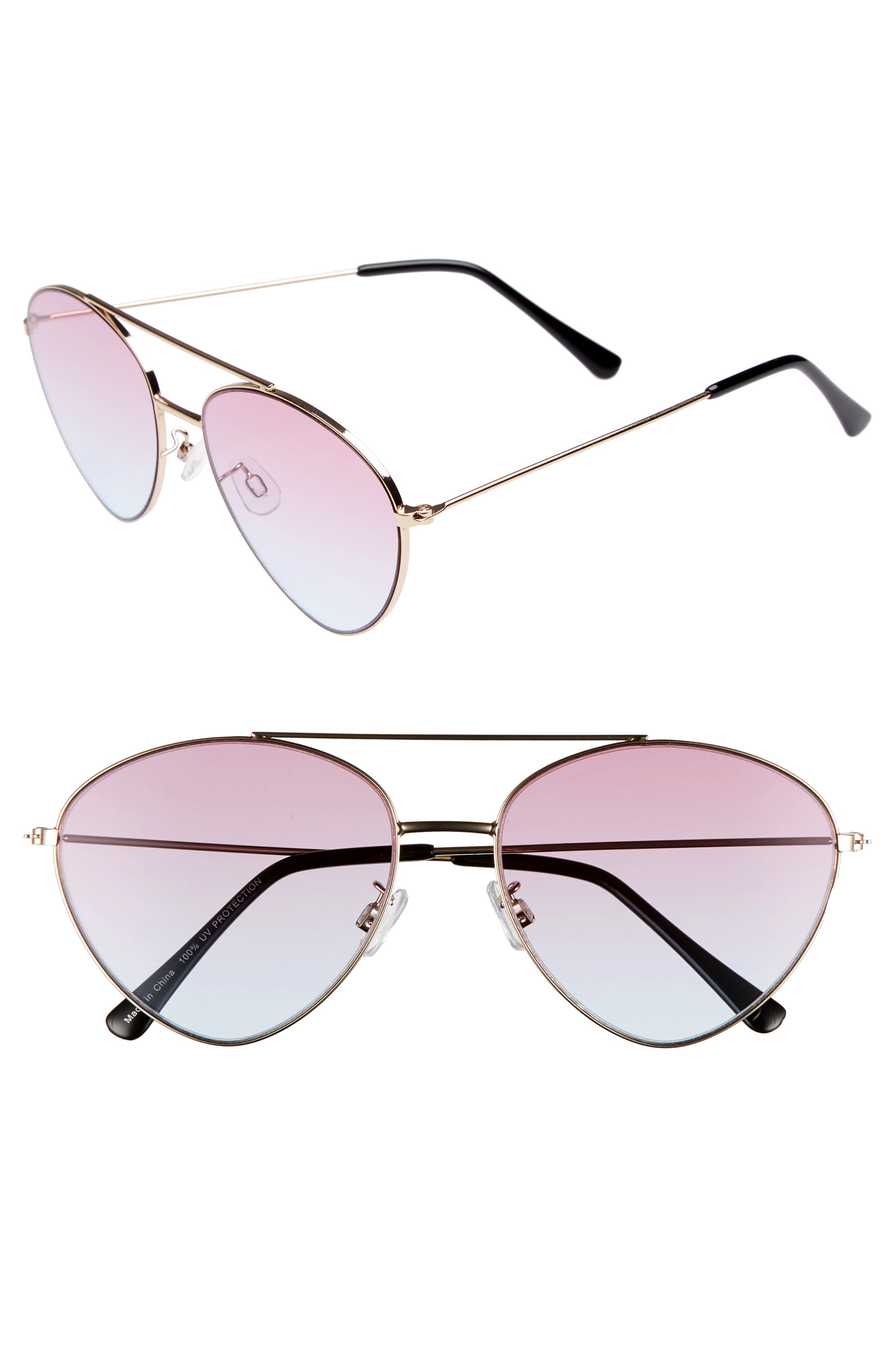 56mm Gradient Aviator Sunglasses,                         Main,                         color, Gold/ Pink/ Blue