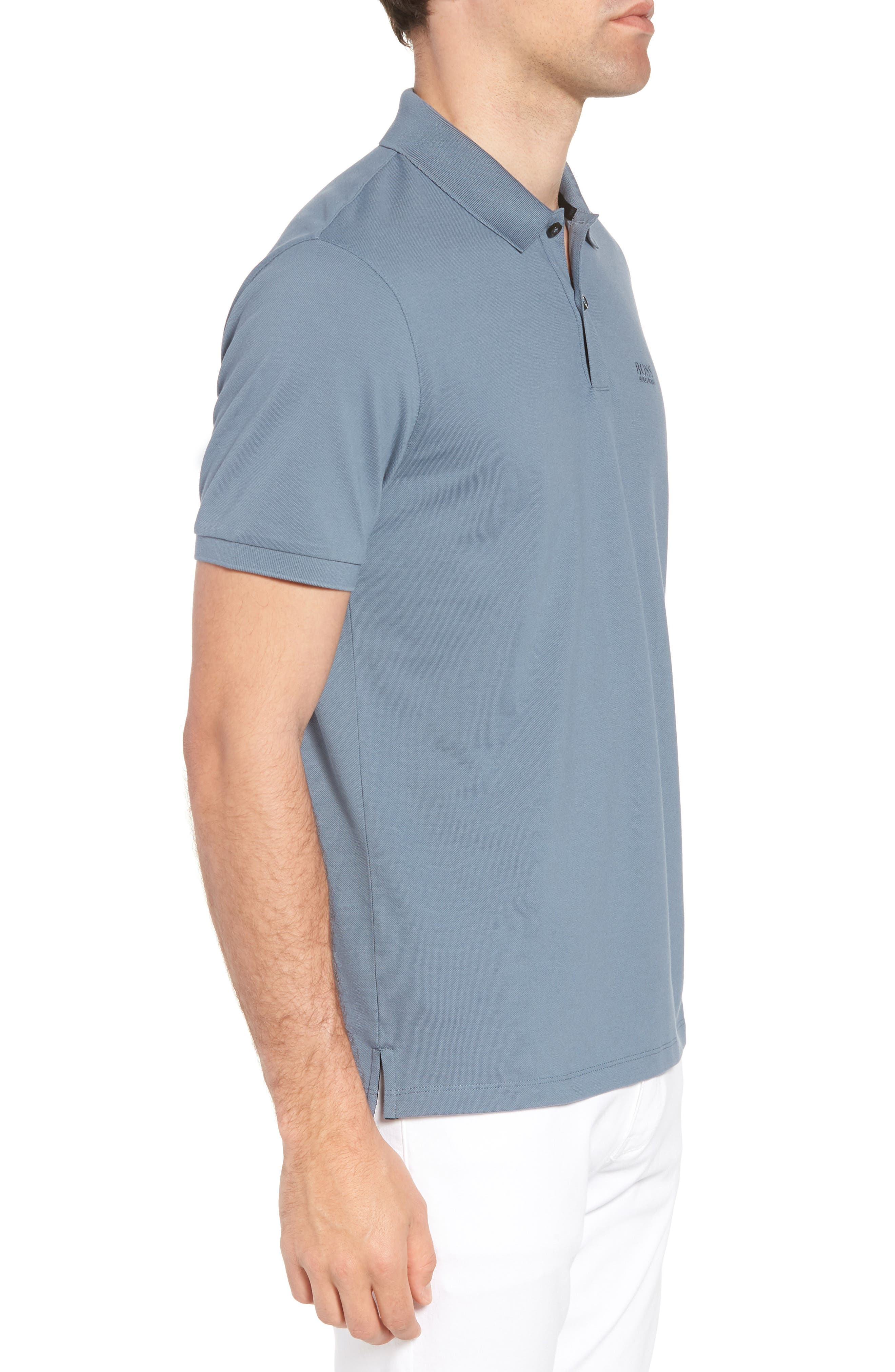 'Pallas' Regular Fit Logo Embroidered Polo Shirt,                             Alternate thumbnail 3, color,                             Blue/ Blue