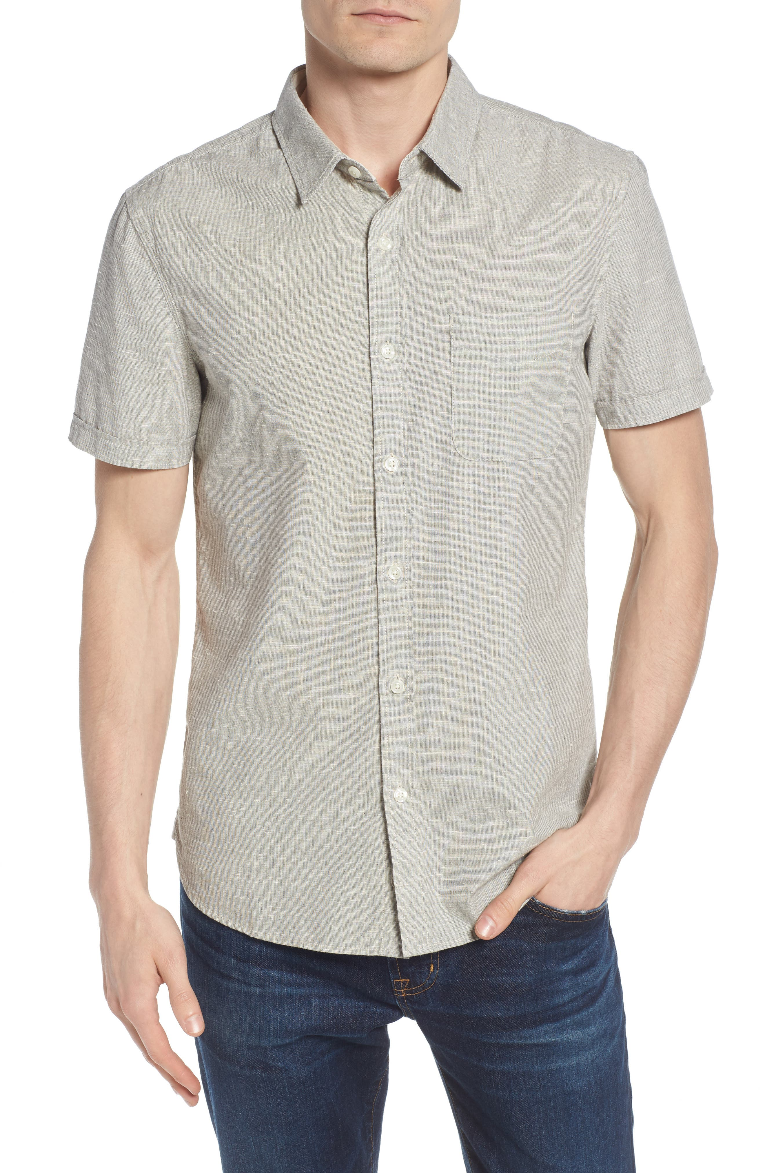 Pearson Regular Fit Short Sleeve Sport Shirt,                         Main,                         color, Smoke Grey