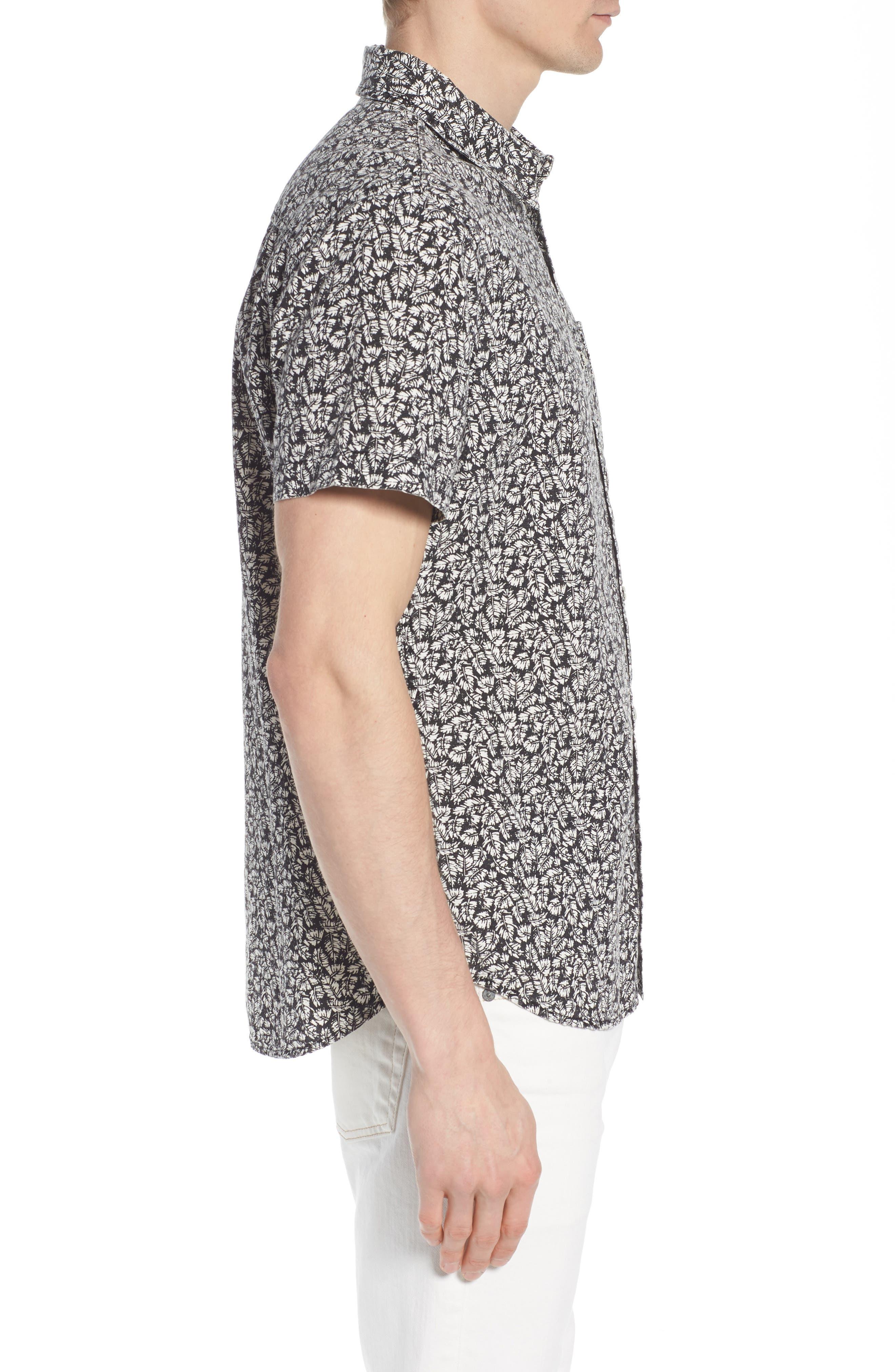Nash Regular Fit Short Sleeve Sport Shirt,                             Alternate thumbnail 4, color,                             Palm Leaf True Black/ White