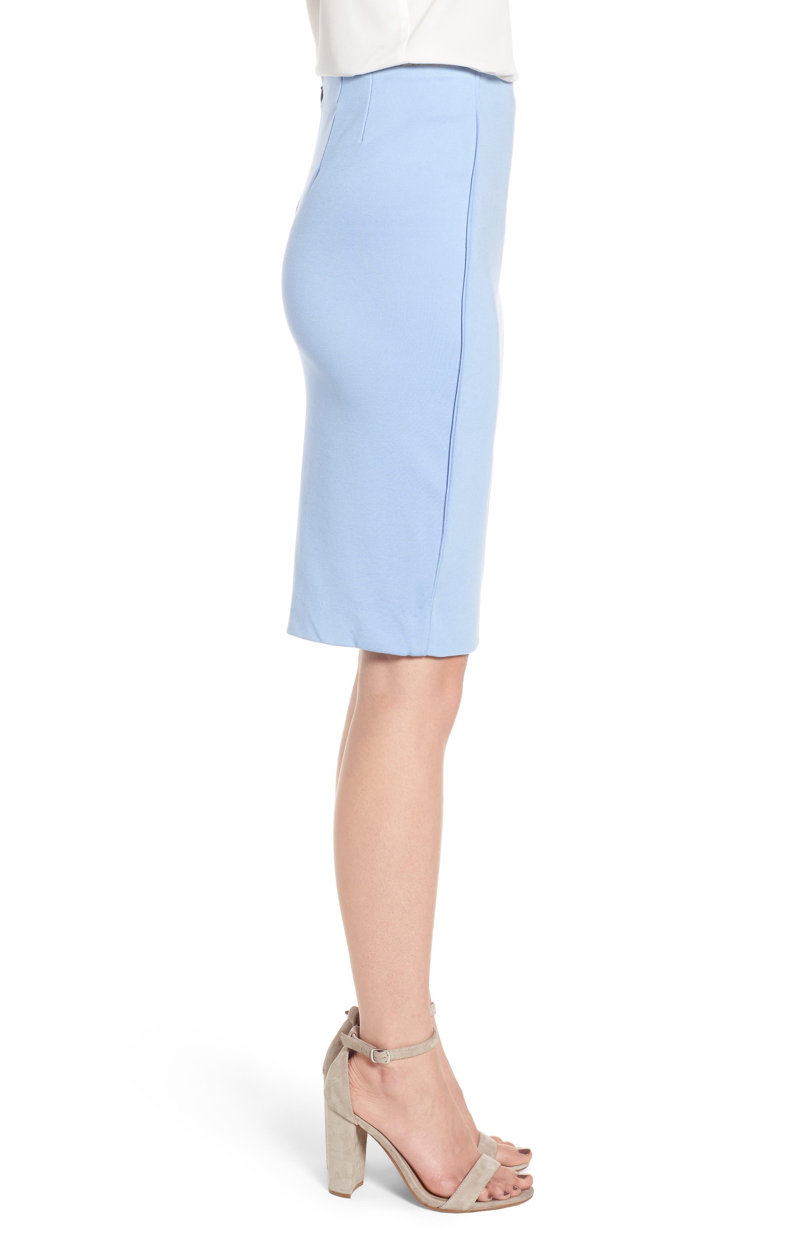 Ponte Pencil Skirt,                             Alternate thumbnail 3, color,                             Soft Blue