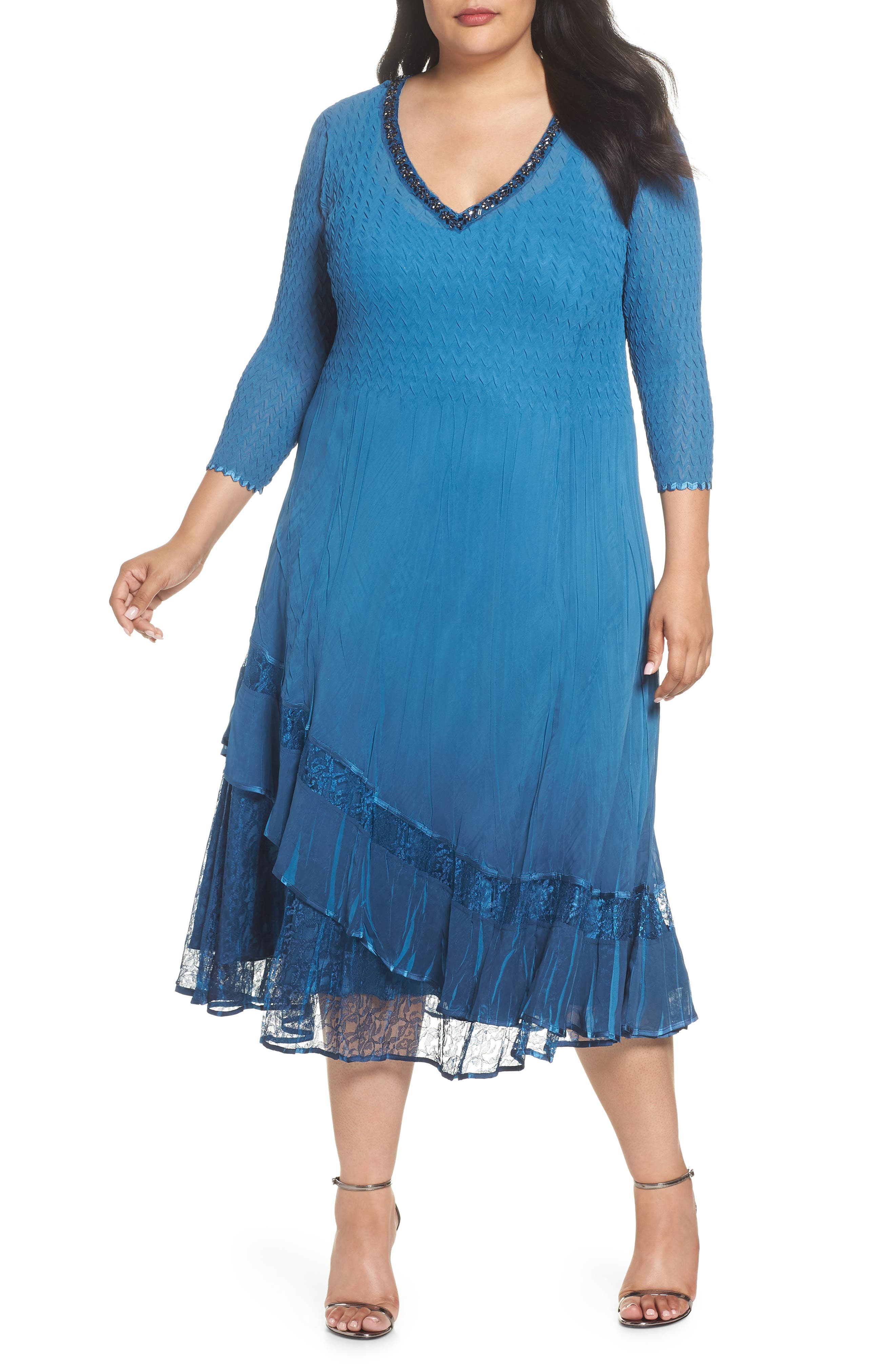 Beaded Neck Asymmetrical Charmeuse A-Line Dress,                             Main thumbnail 1, color,                             Blue Dusk Night Ombre