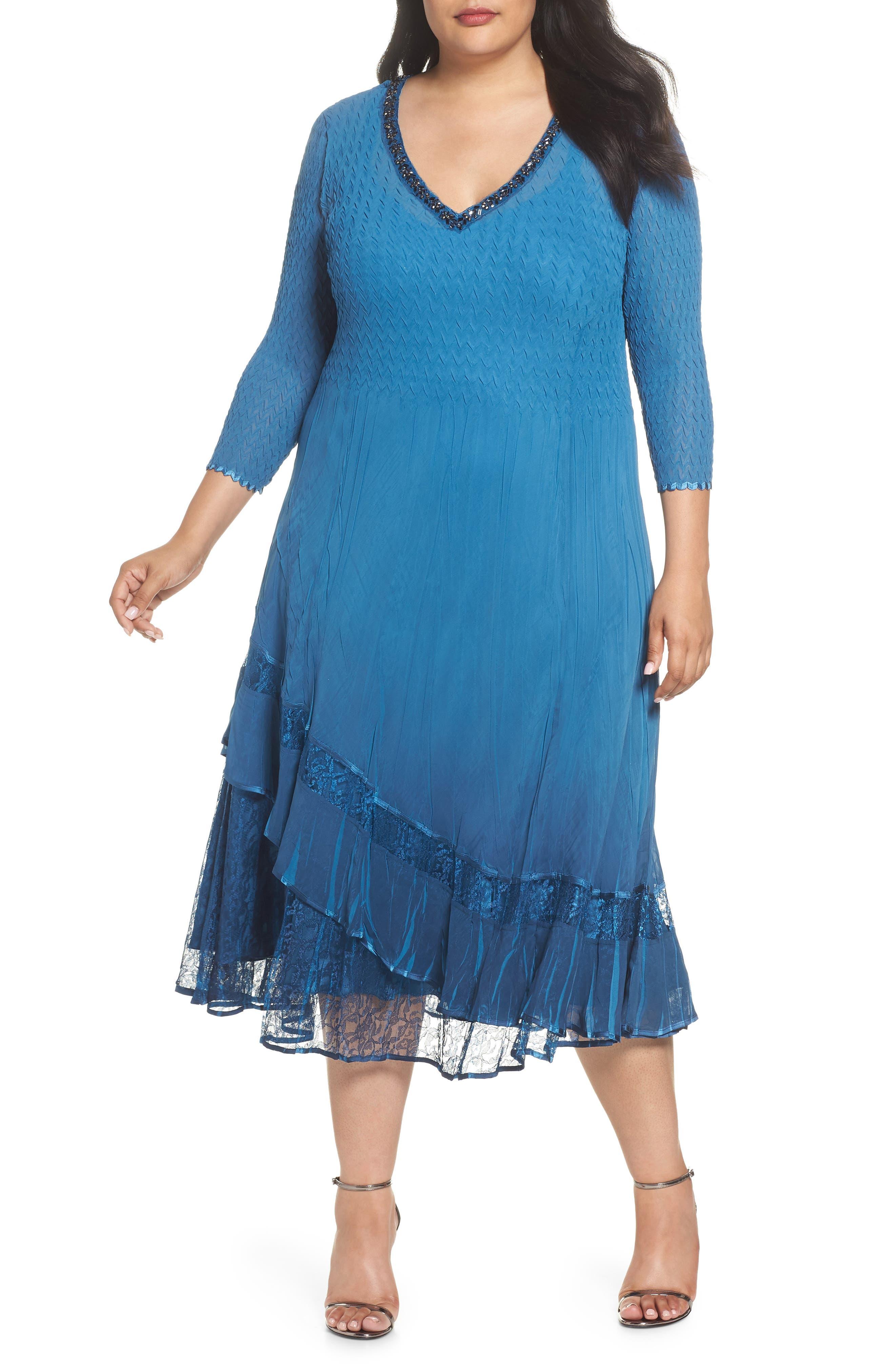 Beaded Neck Asymmetrical Charmeuse A-Line Dress,                         Main,                         color, Blue Dusk Night Ombre