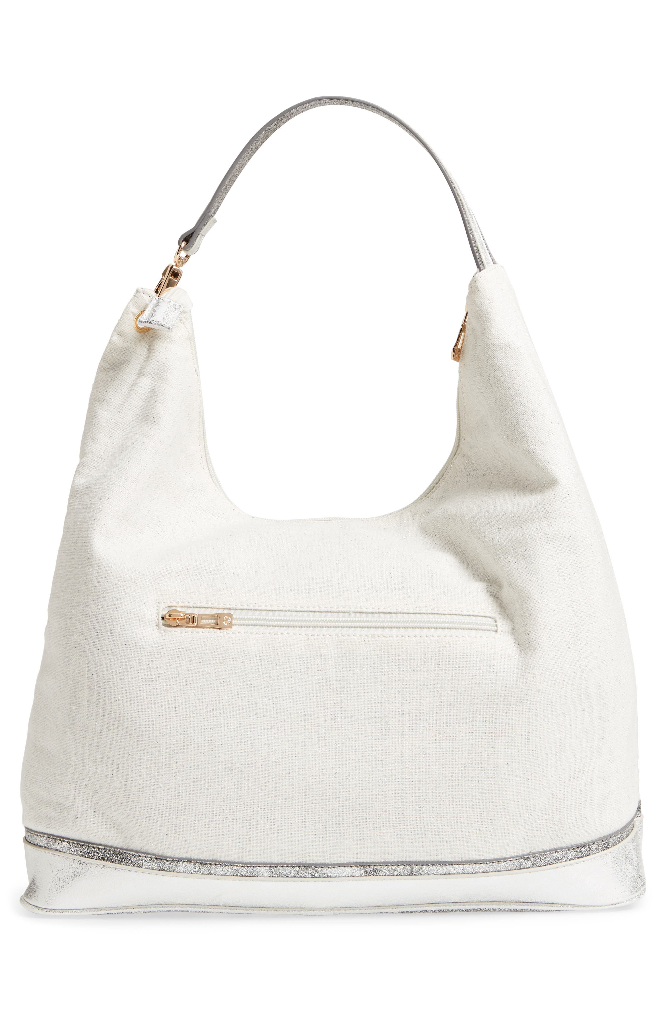 Céline Dion Softy Metallic Canvas Hobo,                             Alternate thumbnail 3, color,                             Silver