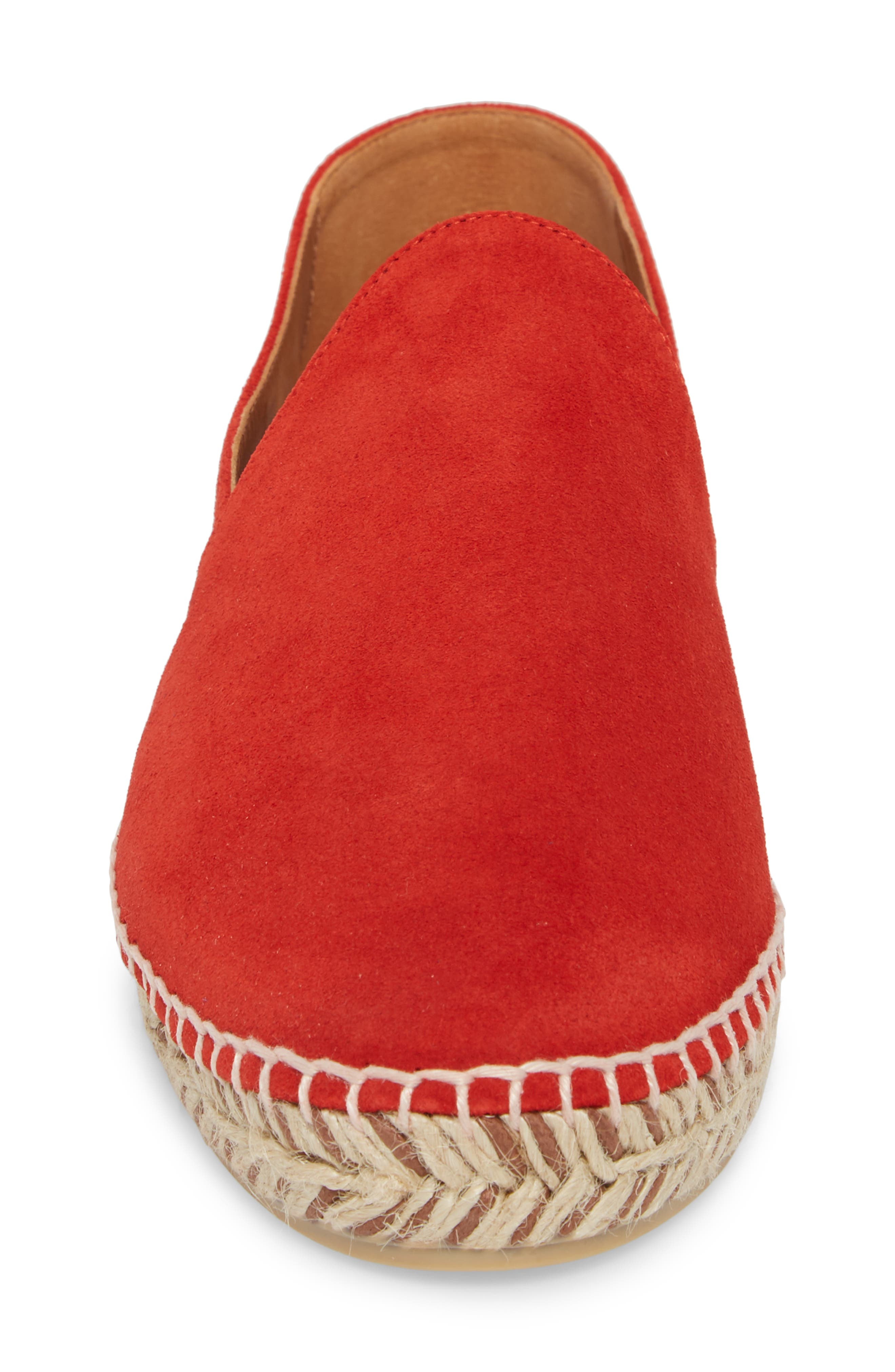 Haddie Espadrille Loafer,                             Alternate thumbnail 4, color,                             Red Suede