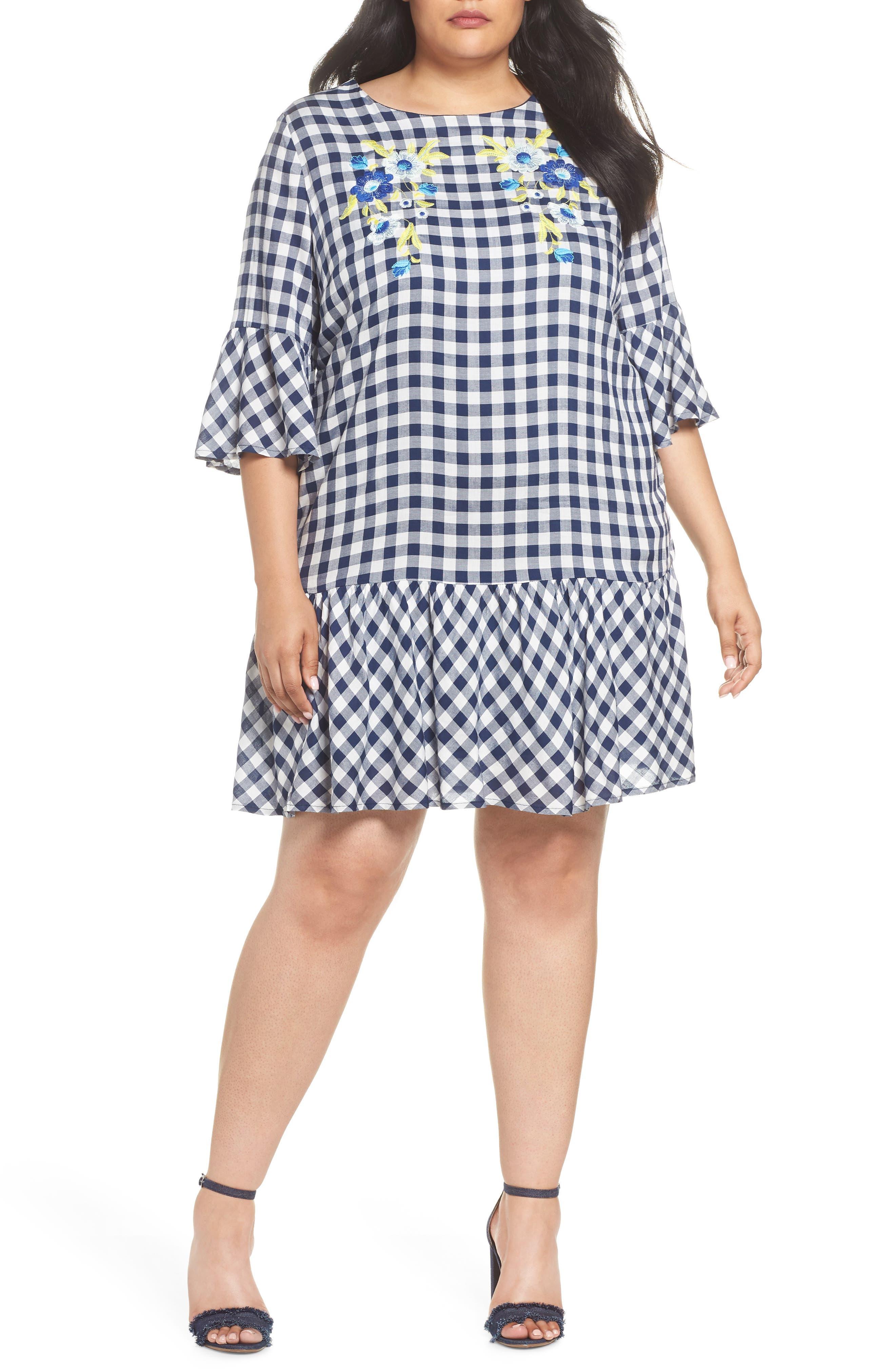 ECI Embroidered Check Shift Dress (Plus Size)